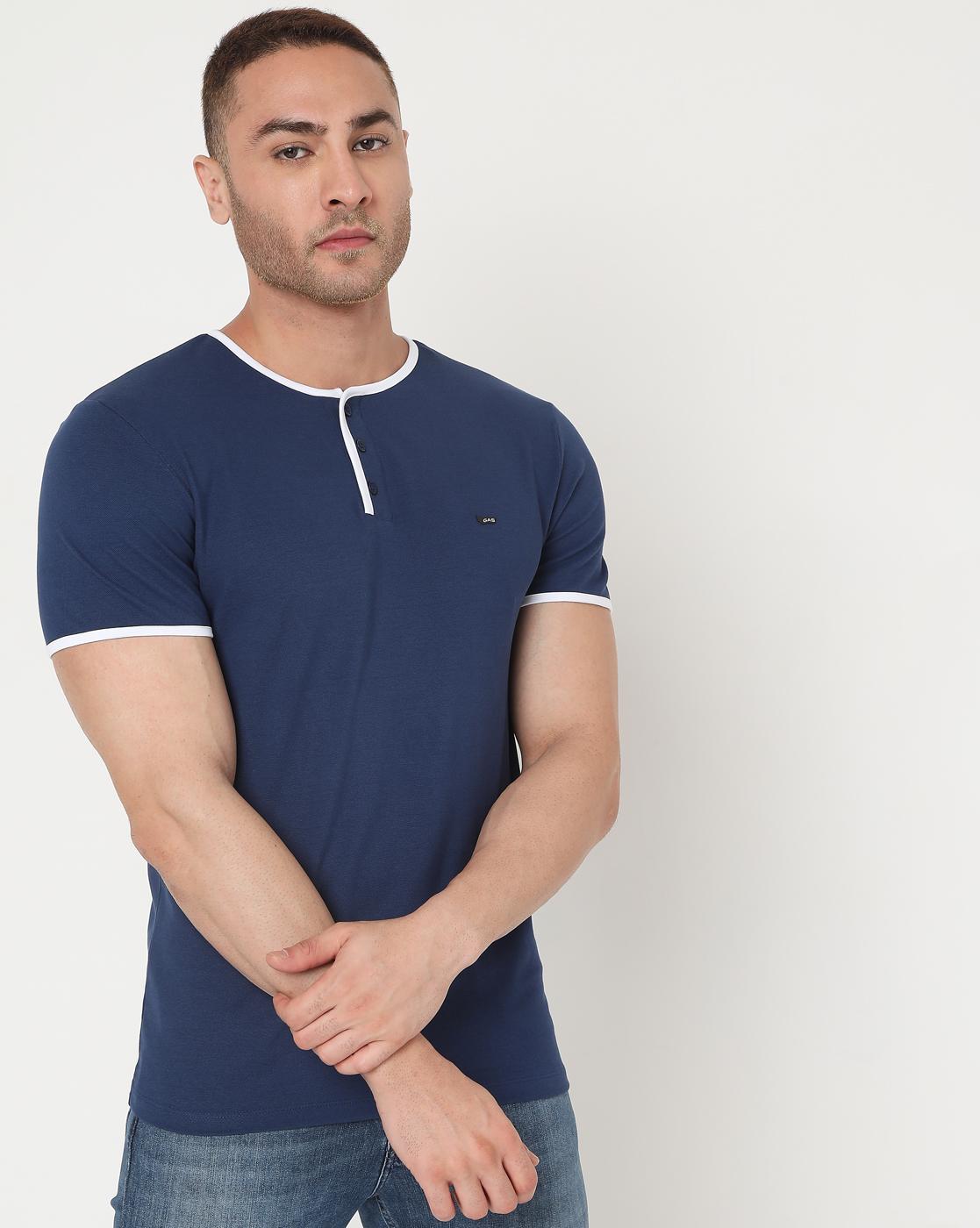 GAS | Men's Luke Hem Ec In Slim Fit Solid Polo