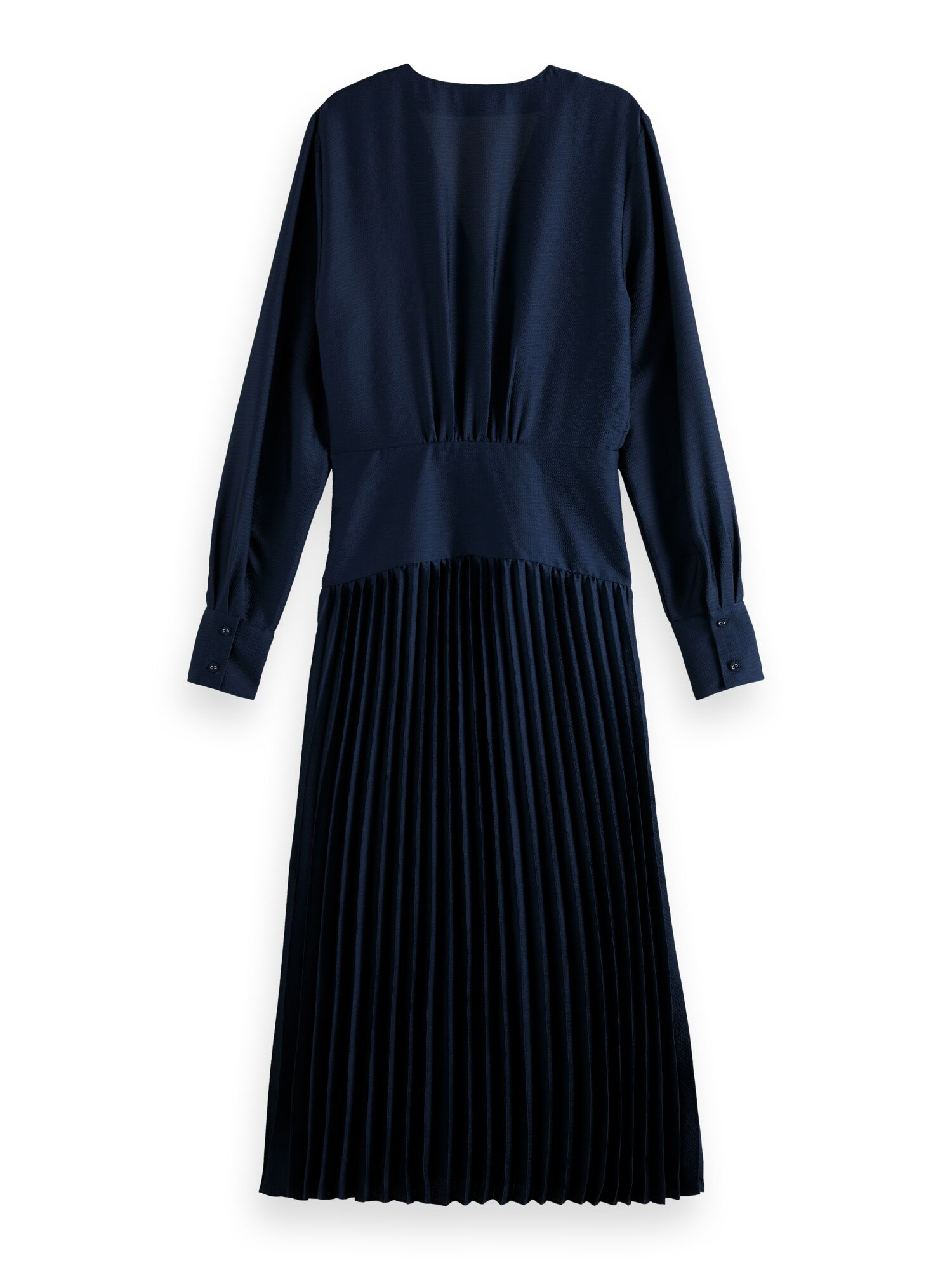 Scotch & Soda   Feminine dress with pleated skirt in structured quality