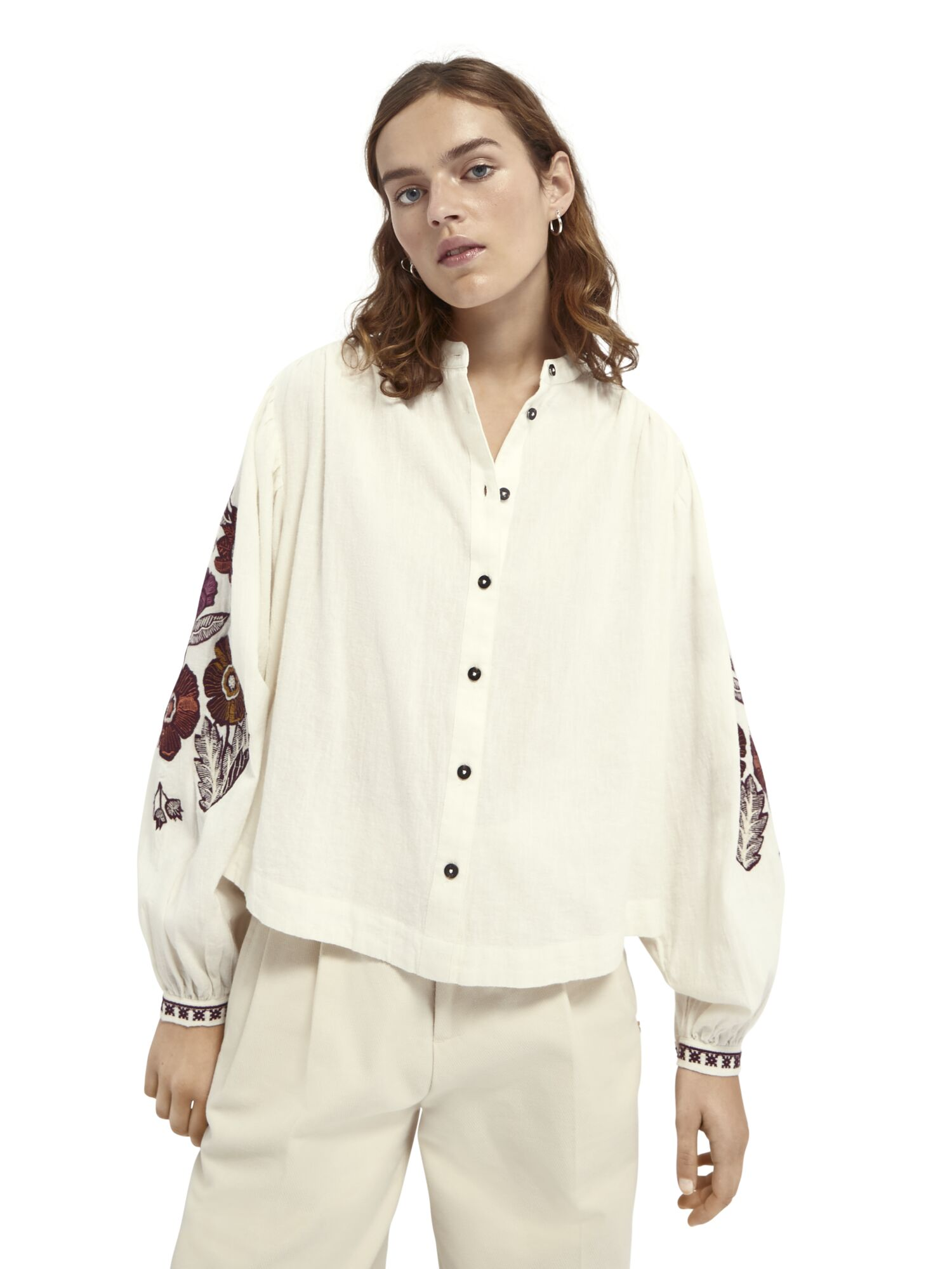 Scotch & Soda | Embroidered top with voluminous sleeves