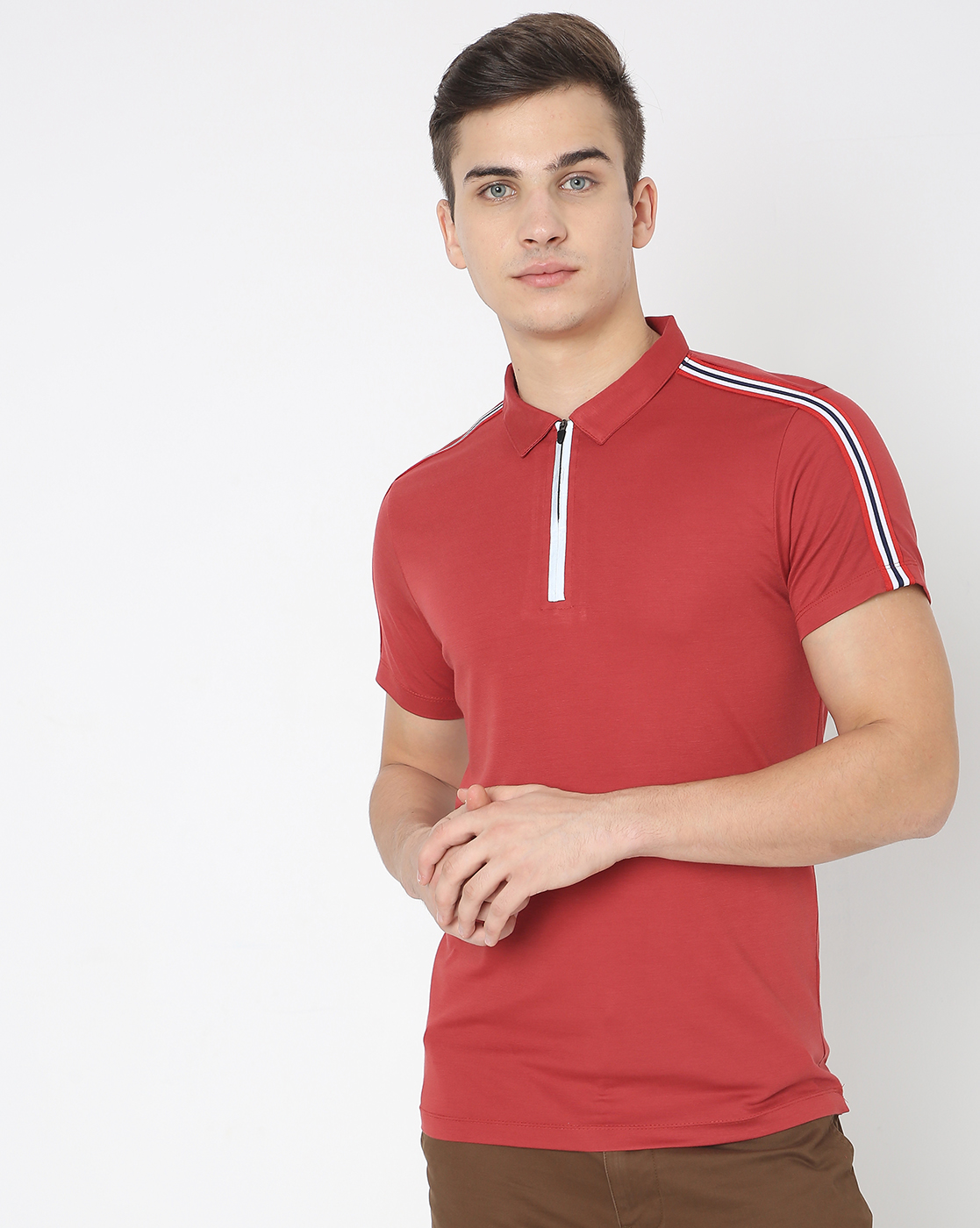 GAS | Men'S Polo Shoulder  Stripe In Slim Polo