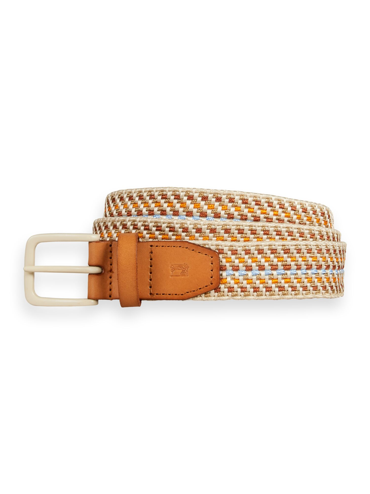 Scotch & Soda   Leather-trimmed woven tape belt