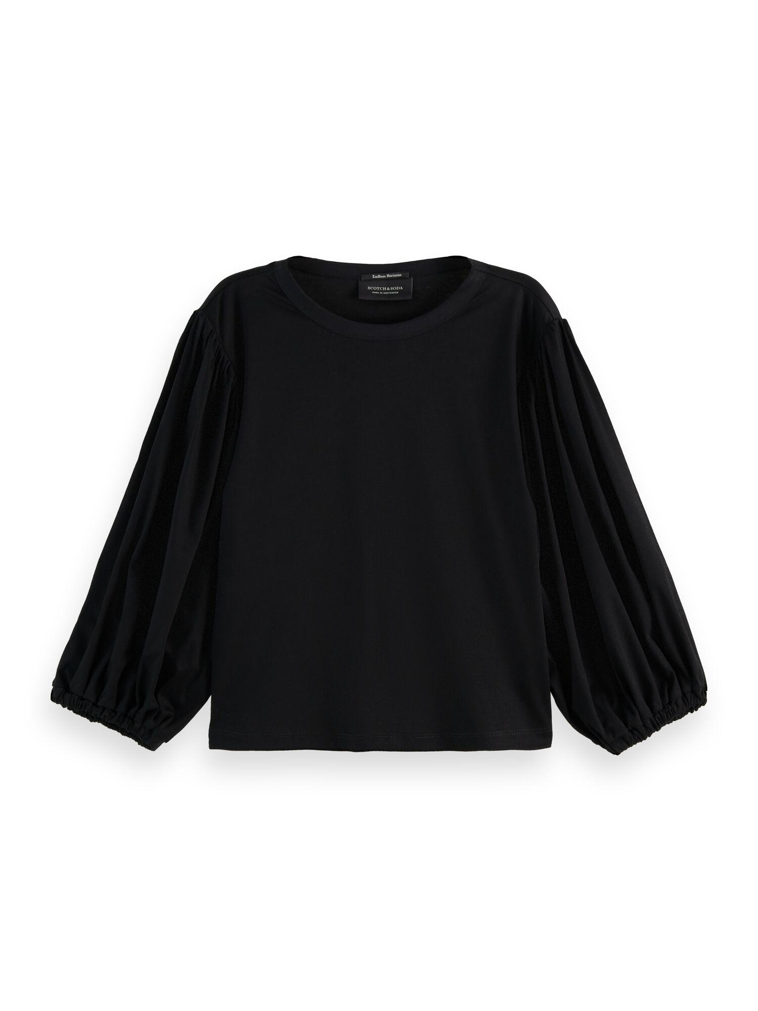 Scotch & Soda   Voluminous sleeve cropped fit T-shirt