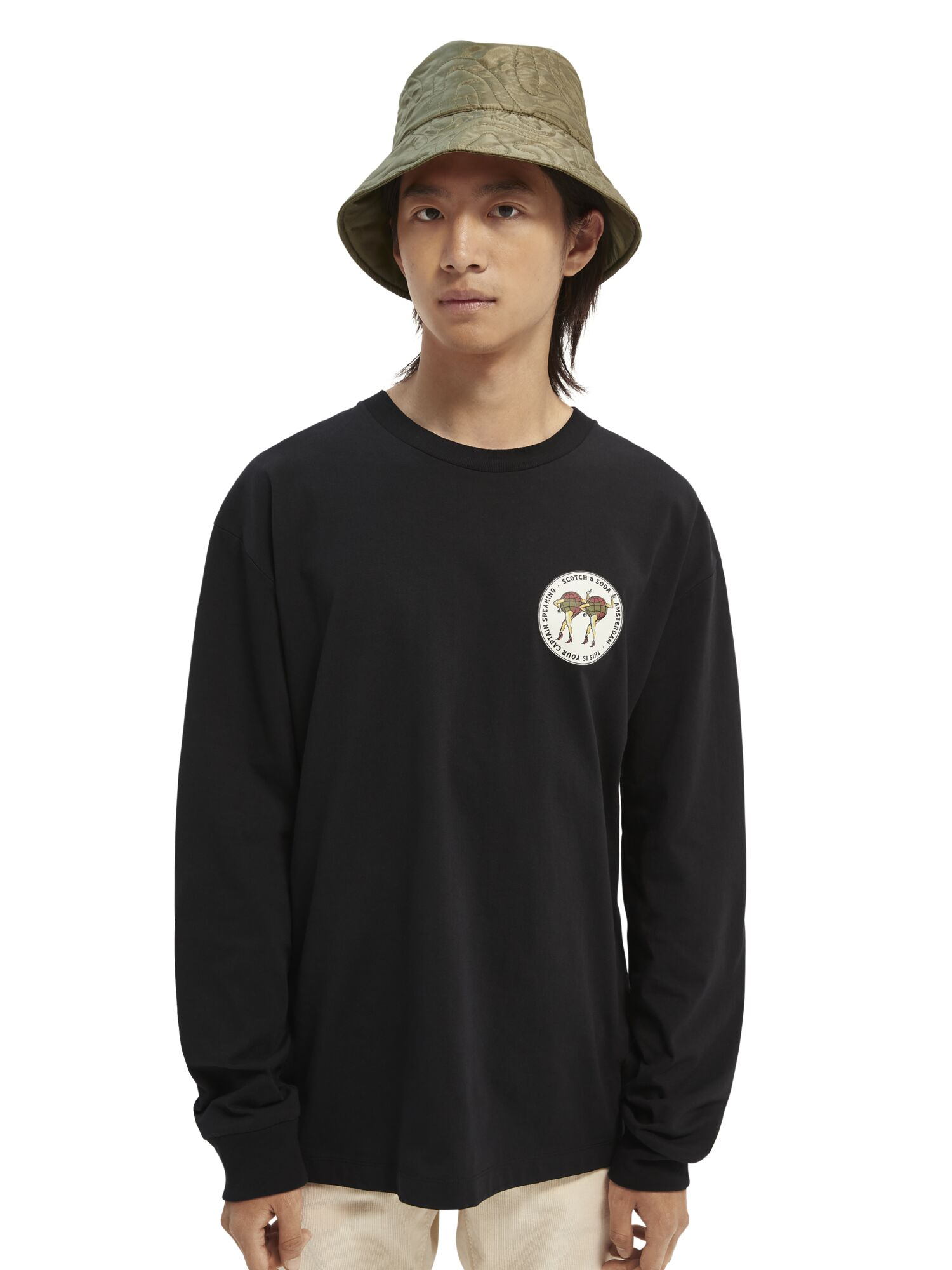 Scotch & Soda   Graphic relaxed-fit long sleeve T-shirt in Organic Cotton