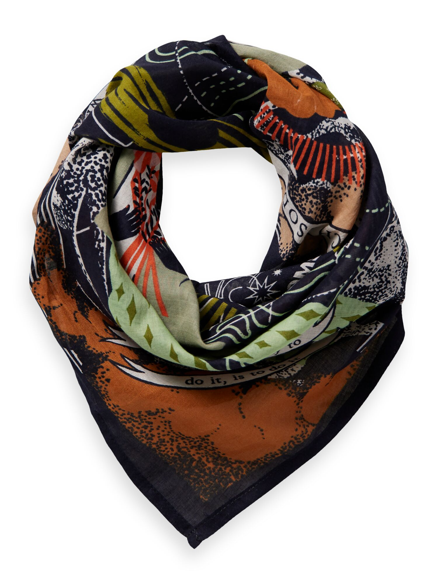 Scotch & Soda | Unisex - Amelia Earhart bandana scarf in Organic Cotton
