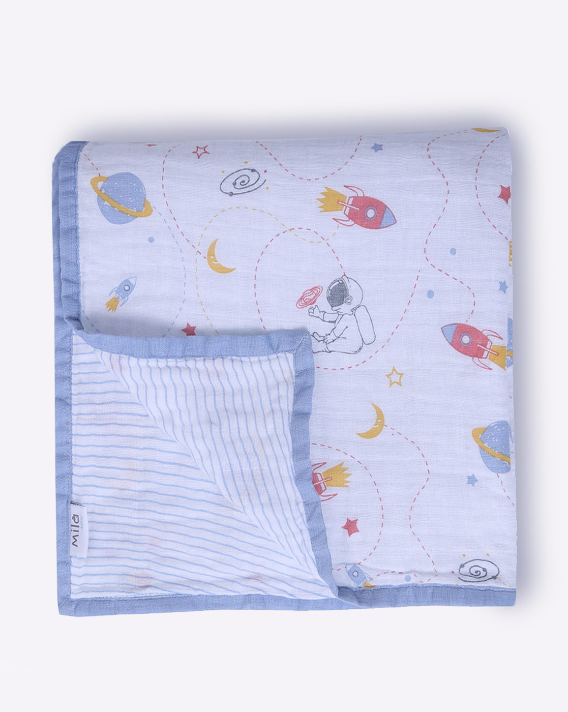 Mothercare | Mila Baby Muslin Blanket Space and Stripes Blue