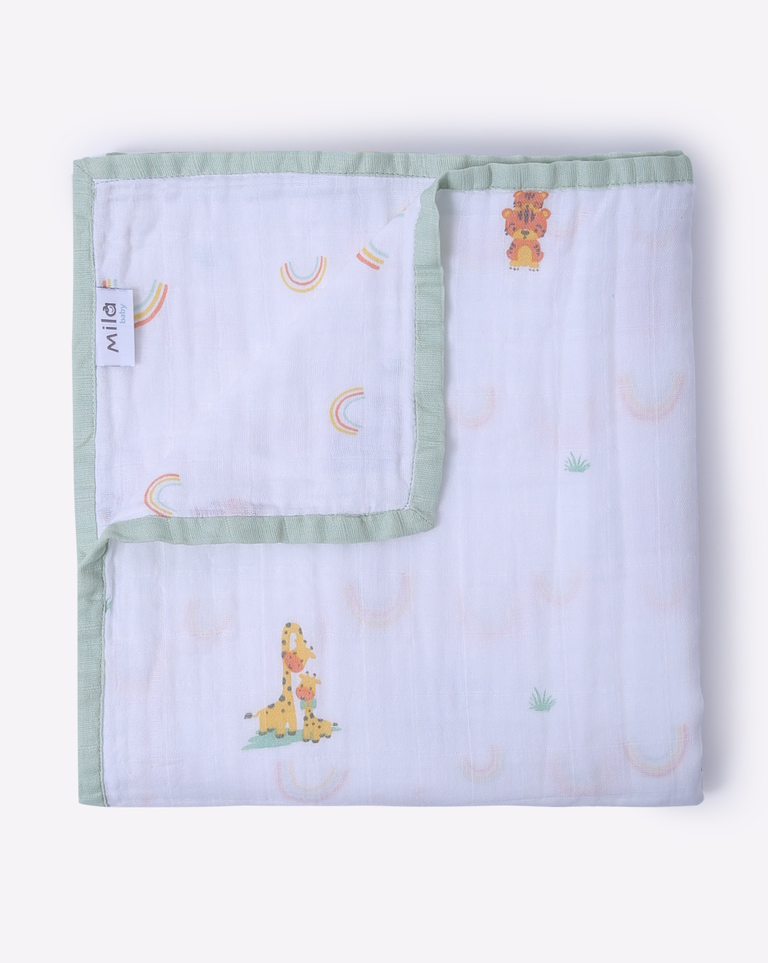 Mothercare | Mila Baby Muslin Blanket Animals and Rainbows Green
