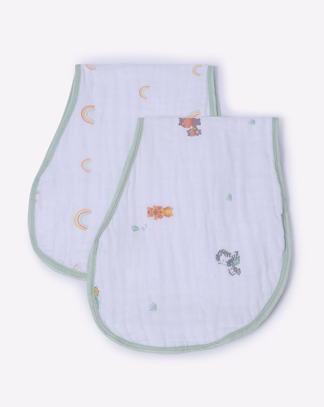 Mothercare   Mila Baby Burpy Bib Animals and Rainbows Green