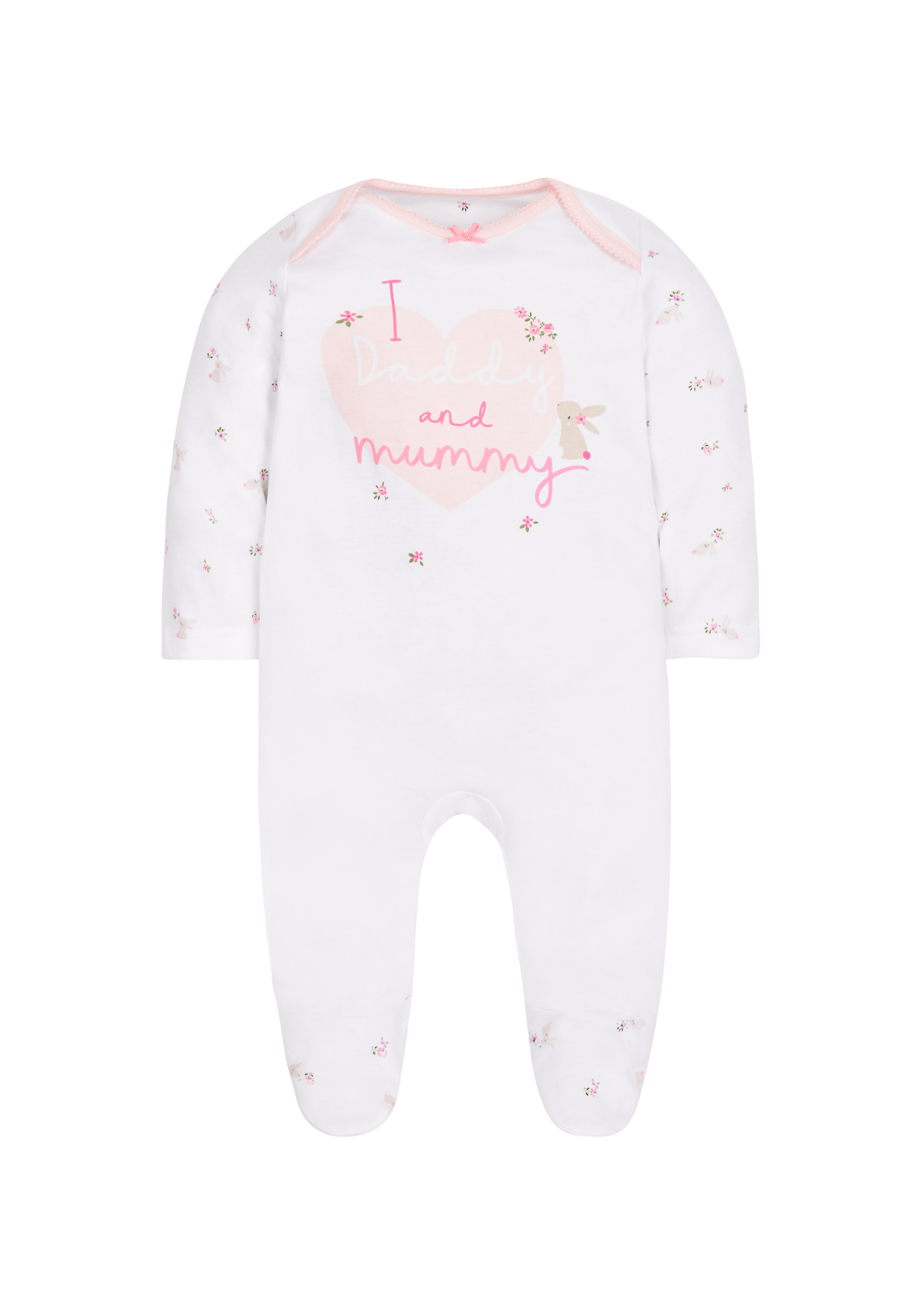 Mothercare | Girls I Love Daddy And Mummy Sleepsuit - Pink