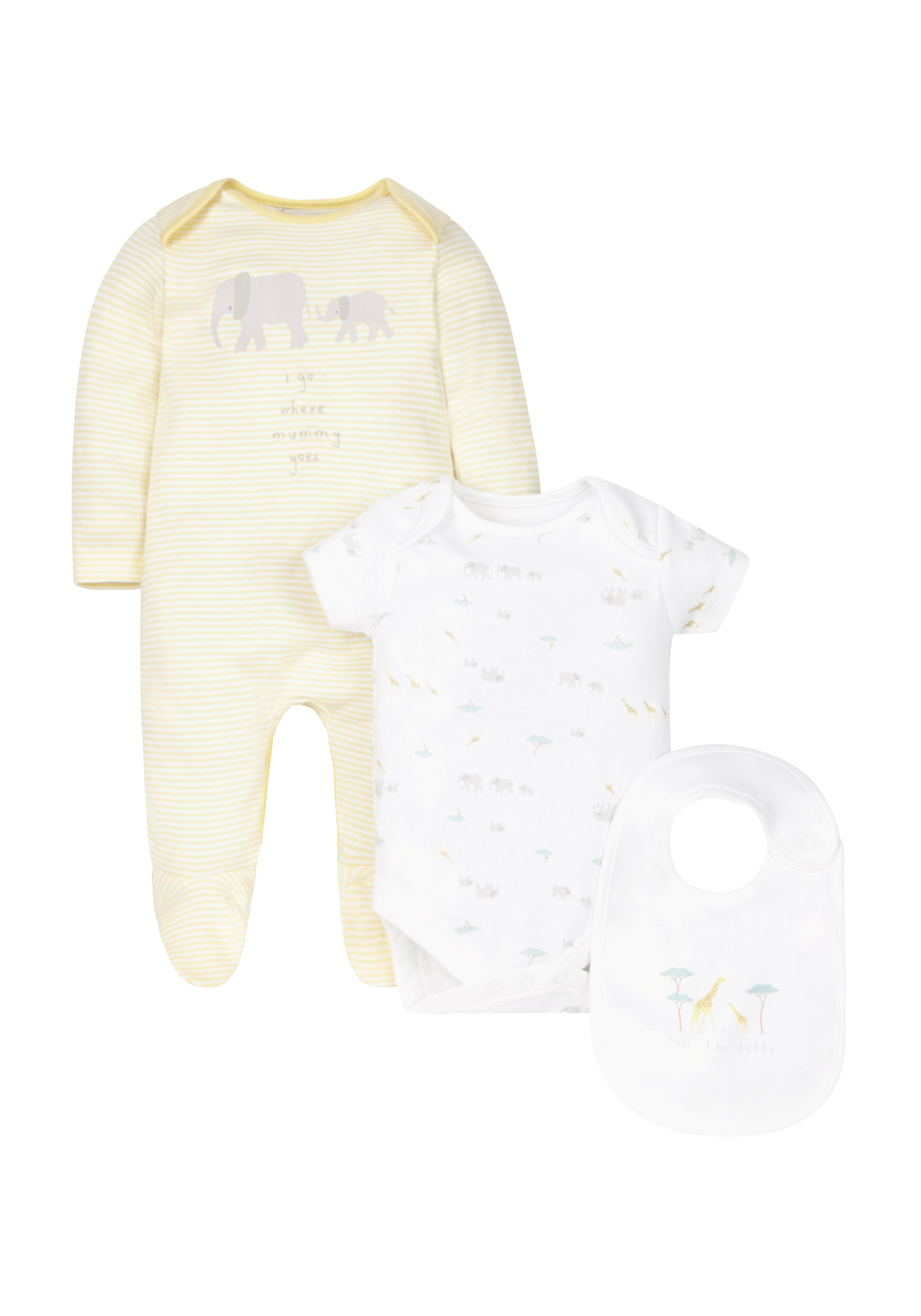 Mothercare | Unisex Mummy And Daddy Set - 3 Piece - White