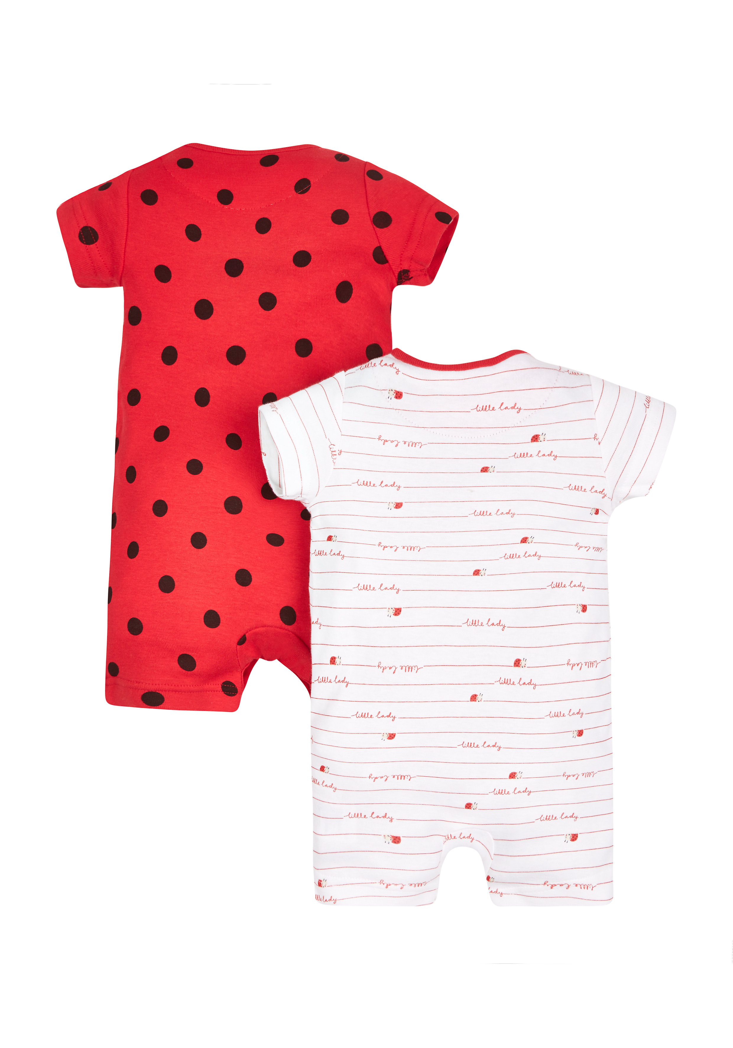 Mothercare | Girls Little Ladybird Rompers - Pack Of 2 - Red
