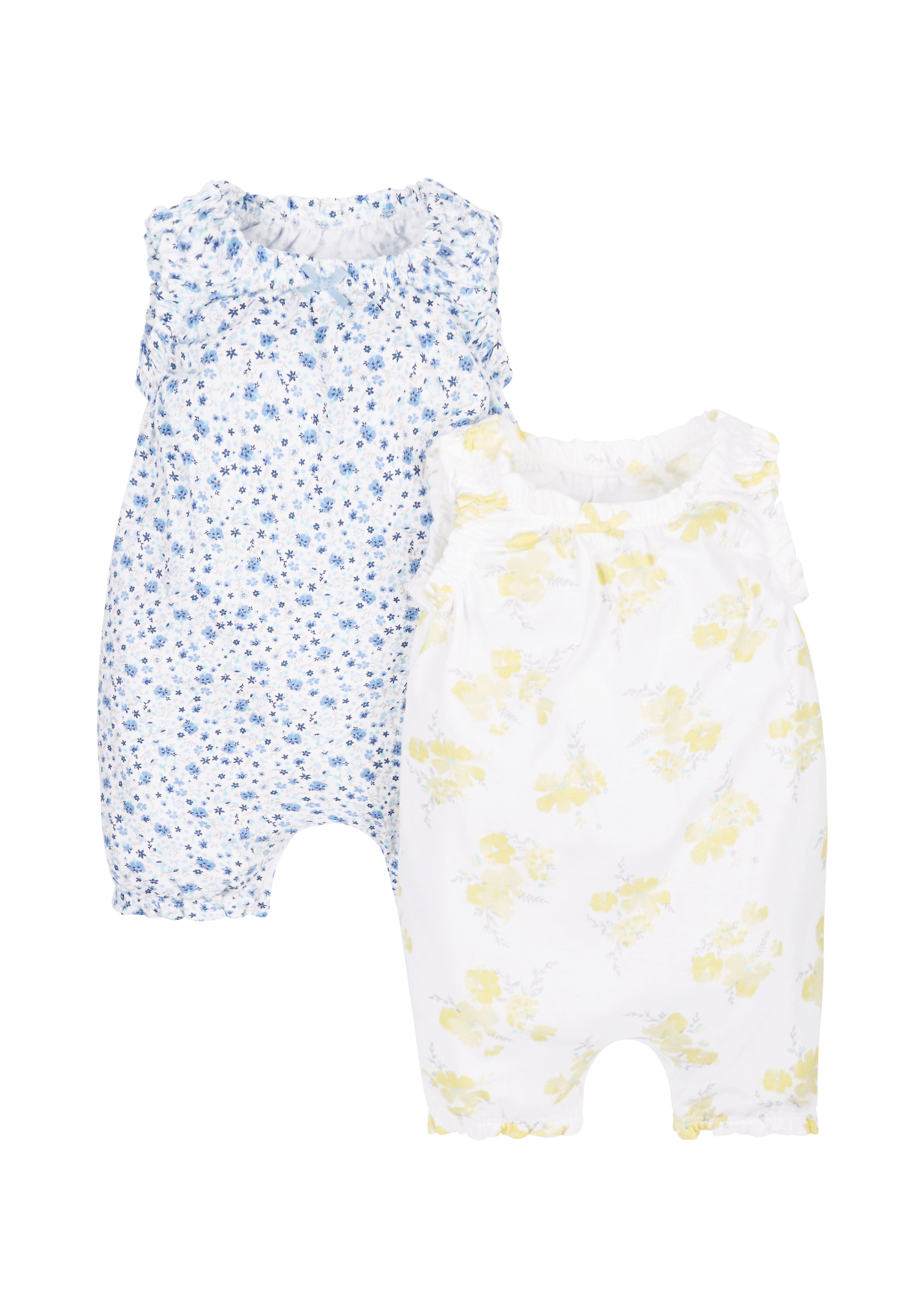 Mothercare   Girls Floral Rompers - Pack Of 2 - Yellow