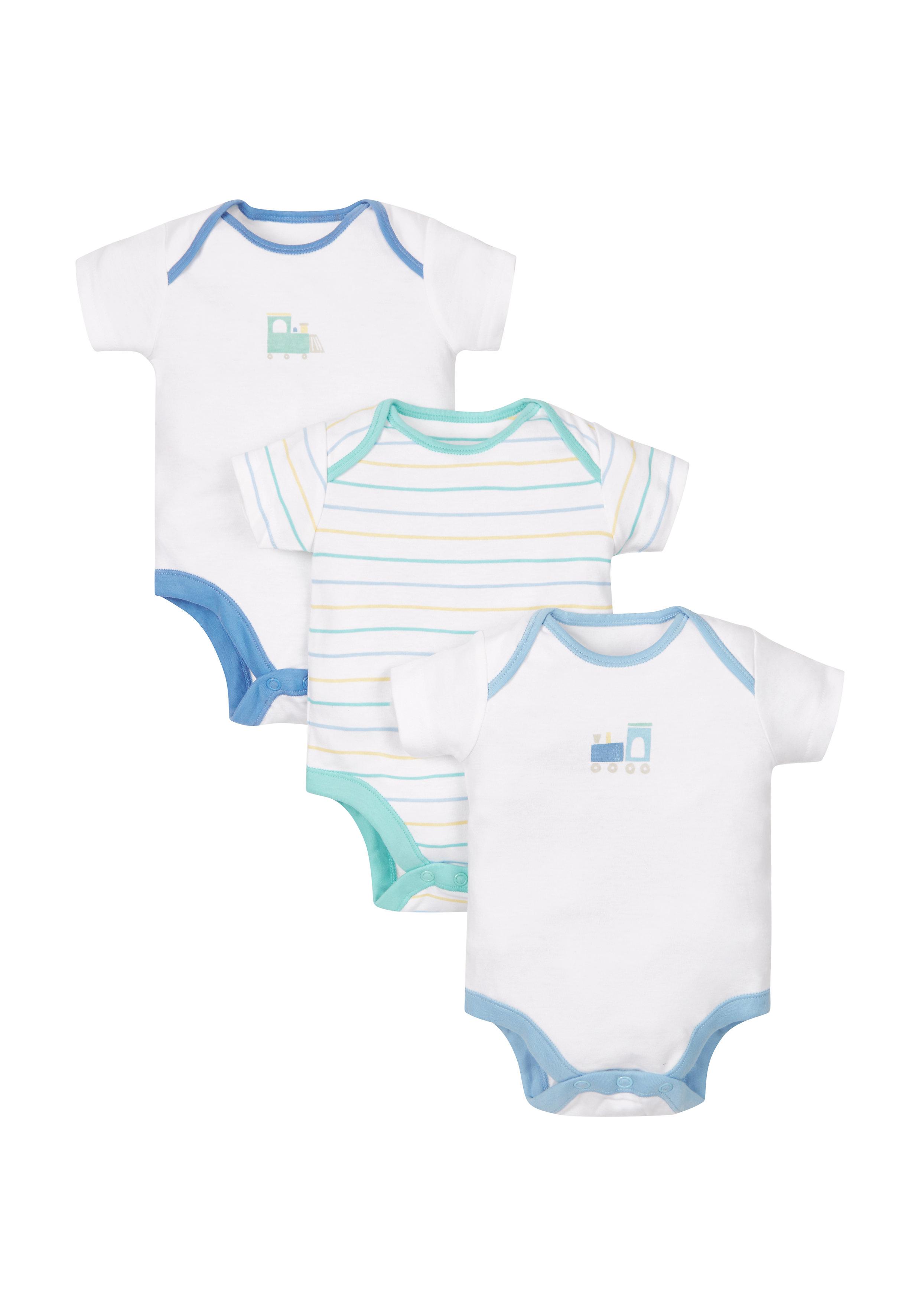 Mothercare   Boys Train Bodysuits - 3 Pack - Blue