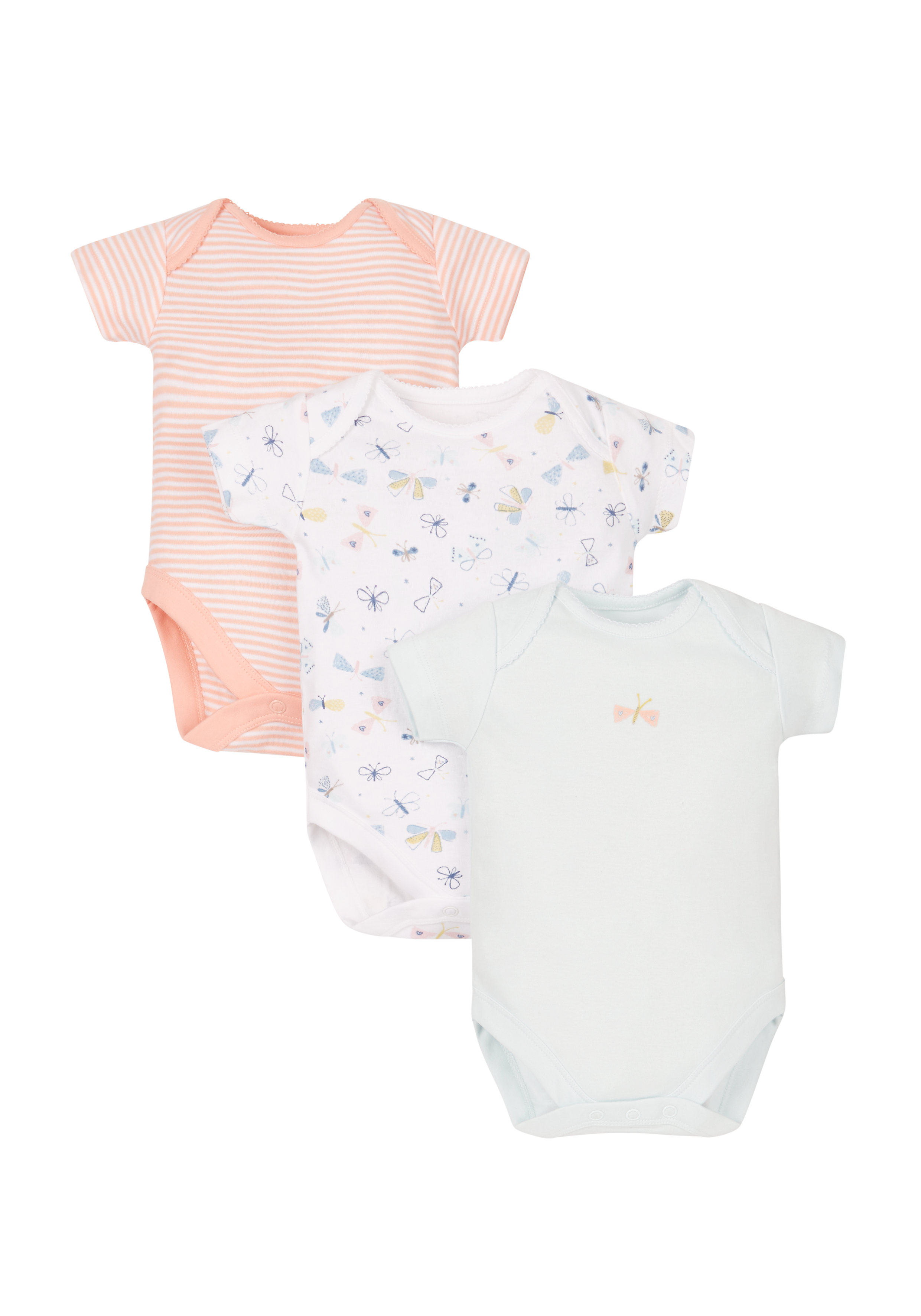 Mothercare | Girls Butterfly Bodysuits - 3 Pack - Multicolor