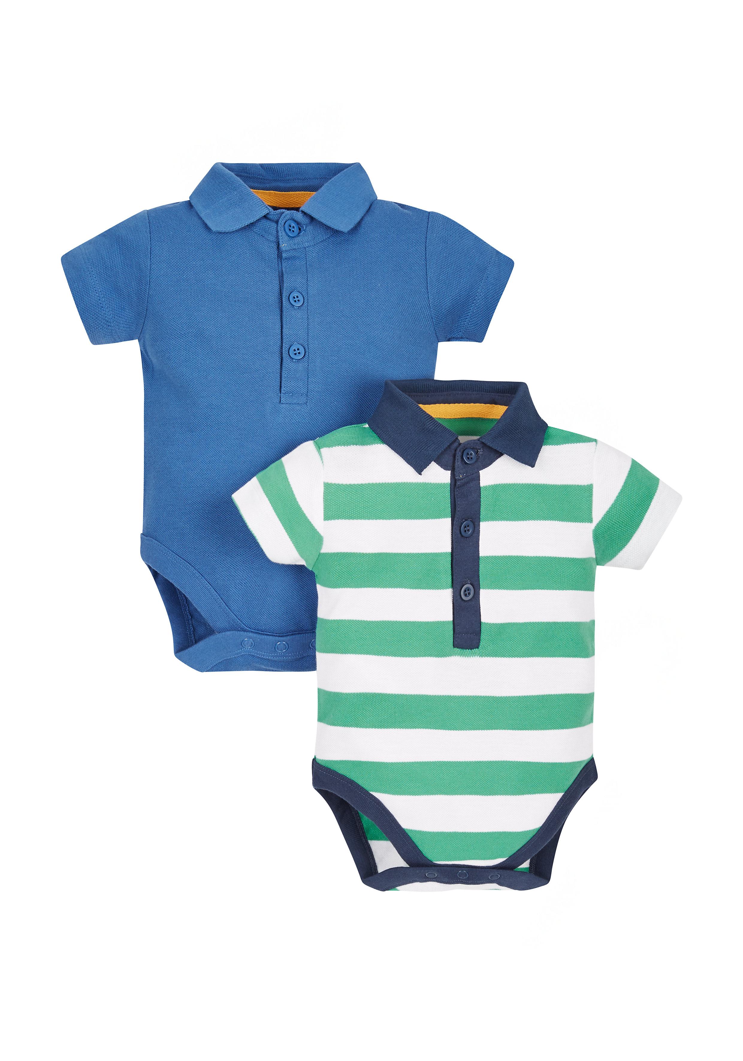 Mothercare | Boys Pique Polo Bodysuits - Pack Of 2 - Multicolor