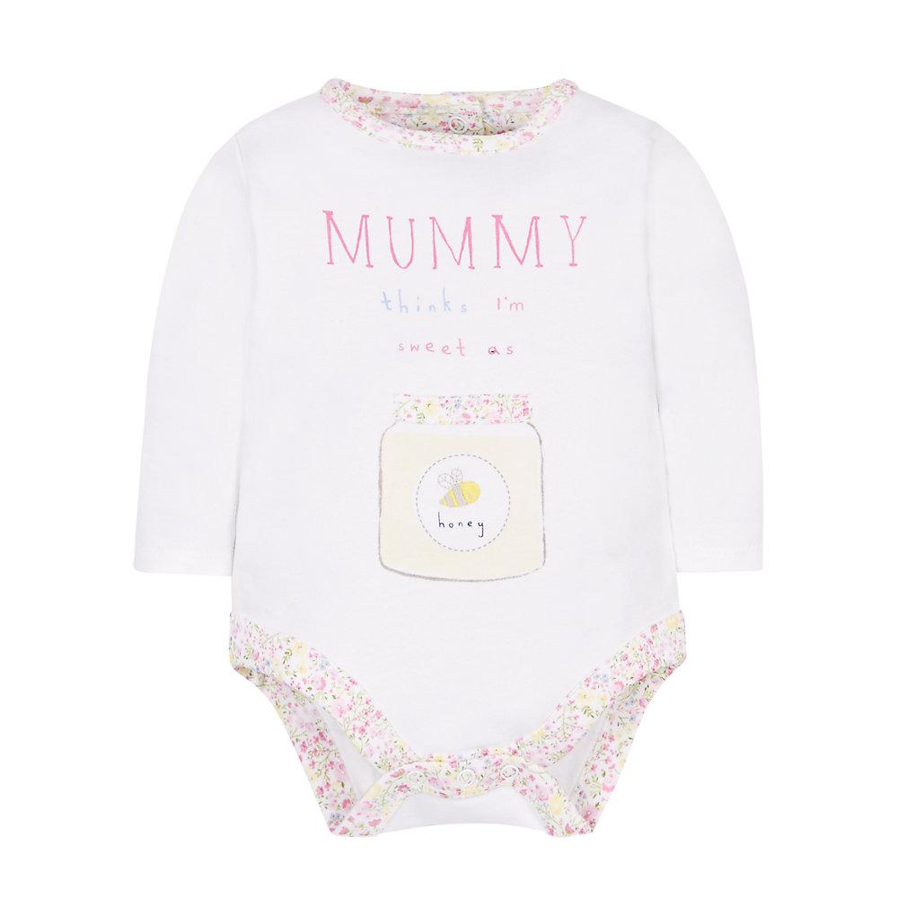 Mothercare | Girls Sweeter Than Honey Bodysuit - White