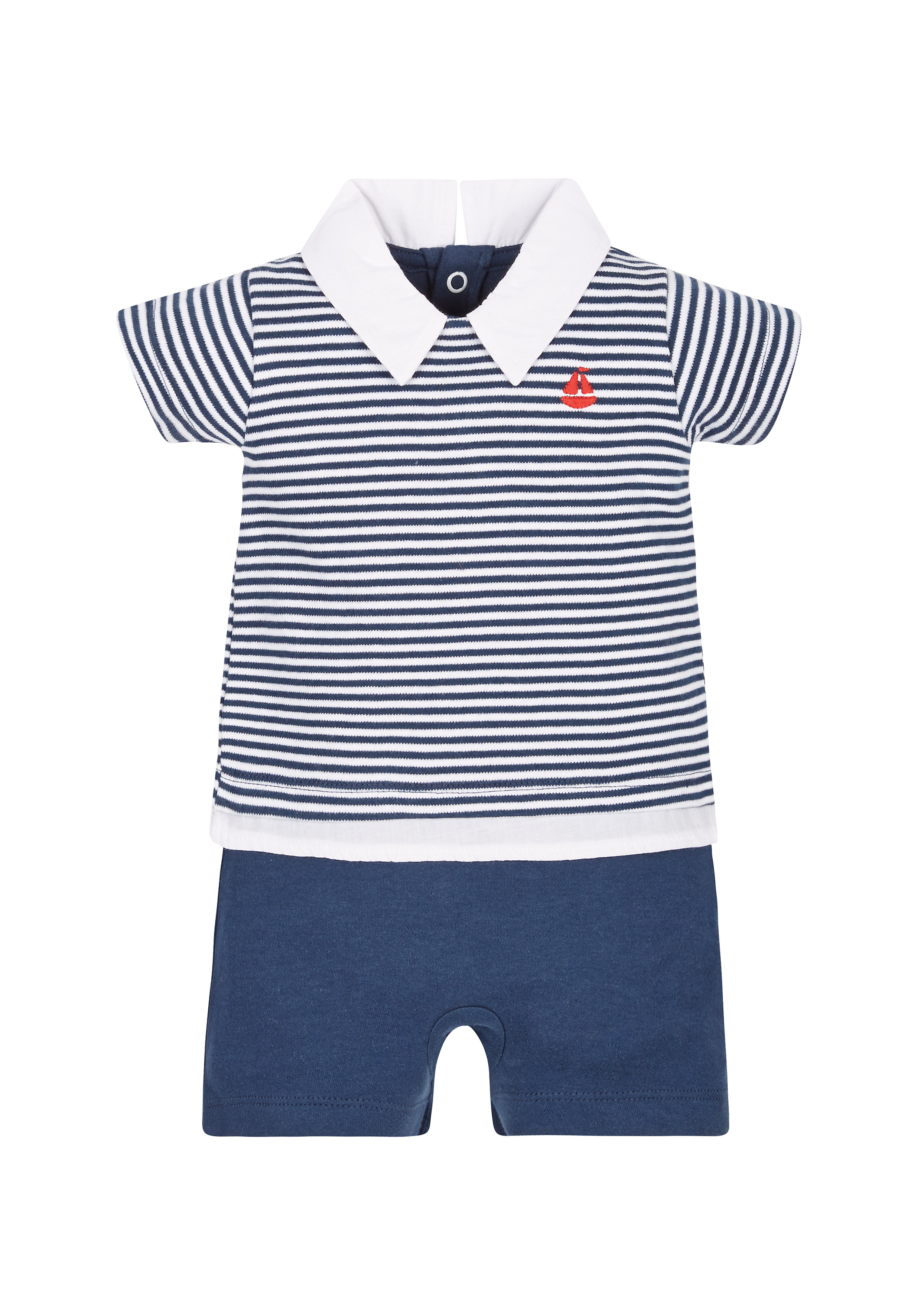 Mothercare | Boys Mock Polo And Shorts Romper