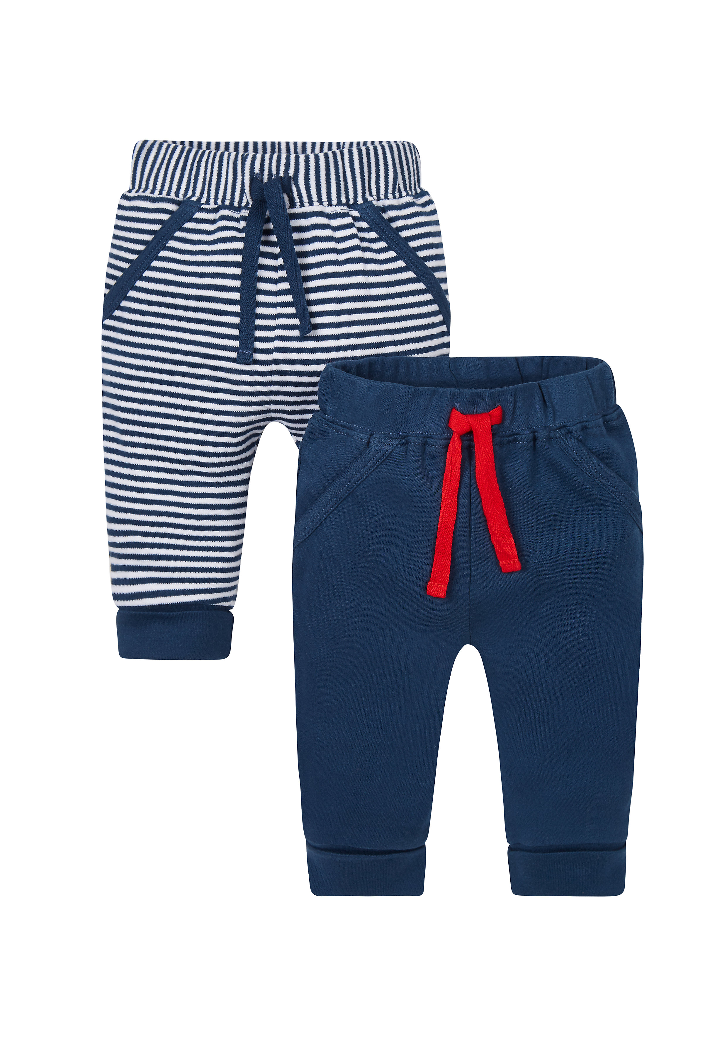 Mothercare   Boys Stripy And Navy Joggers - Pack Of 2