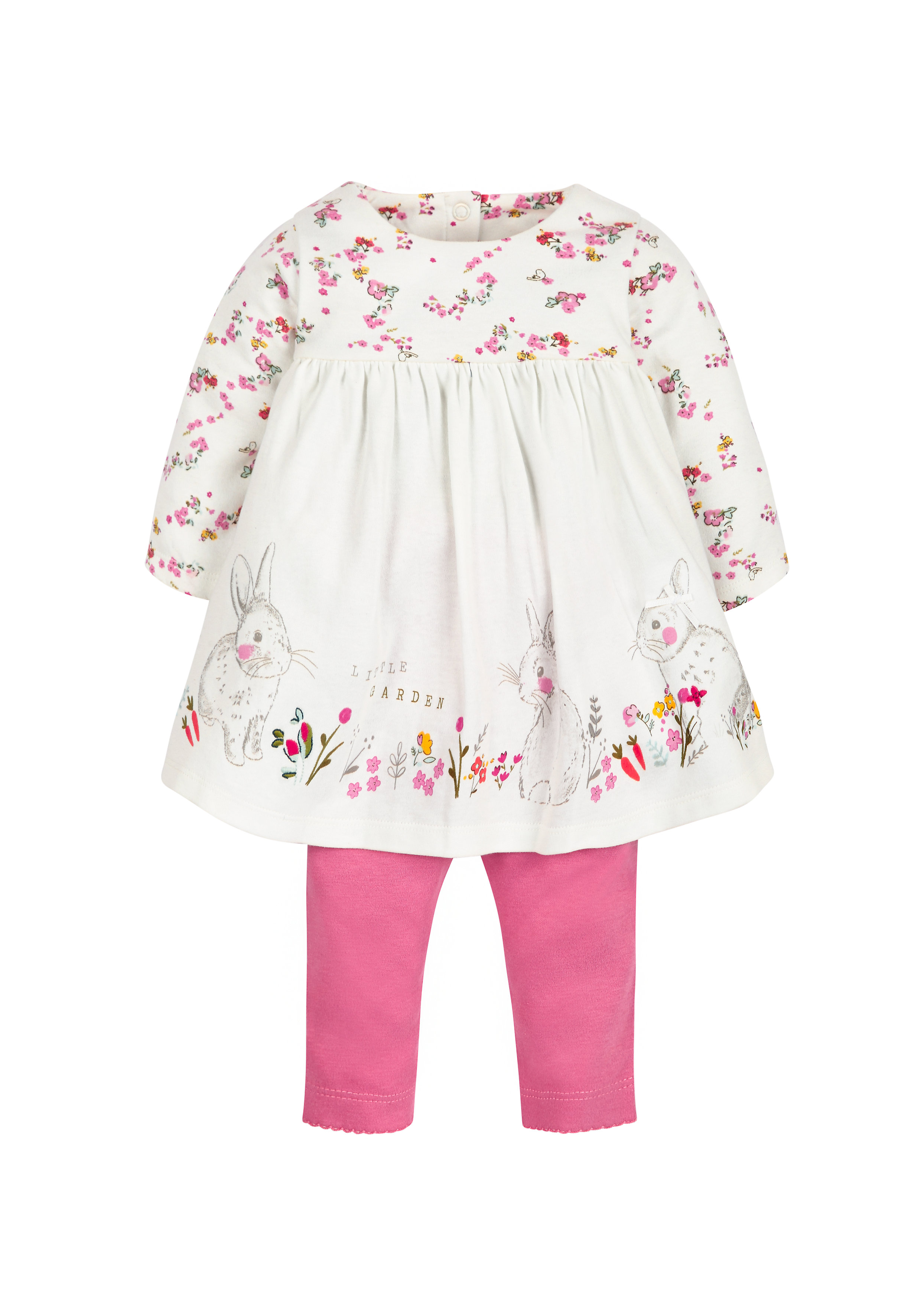 Mothercare | Girls Floral Border Dress And Leggings Set - White