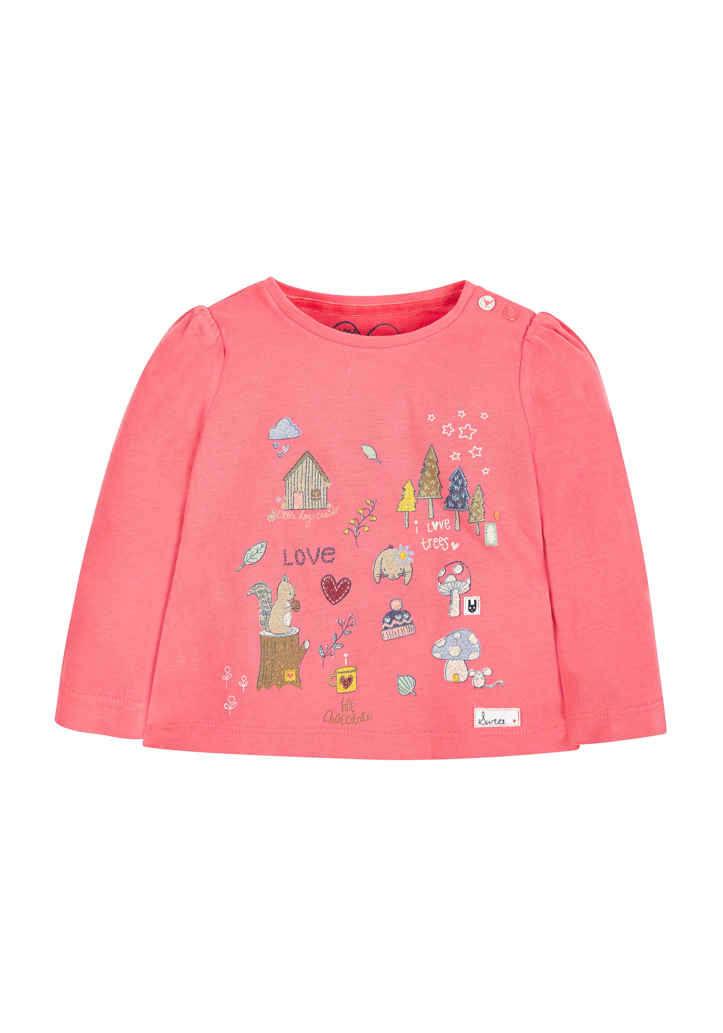 Mothercare | Girls Woodland Scene T-Shirt - Pink