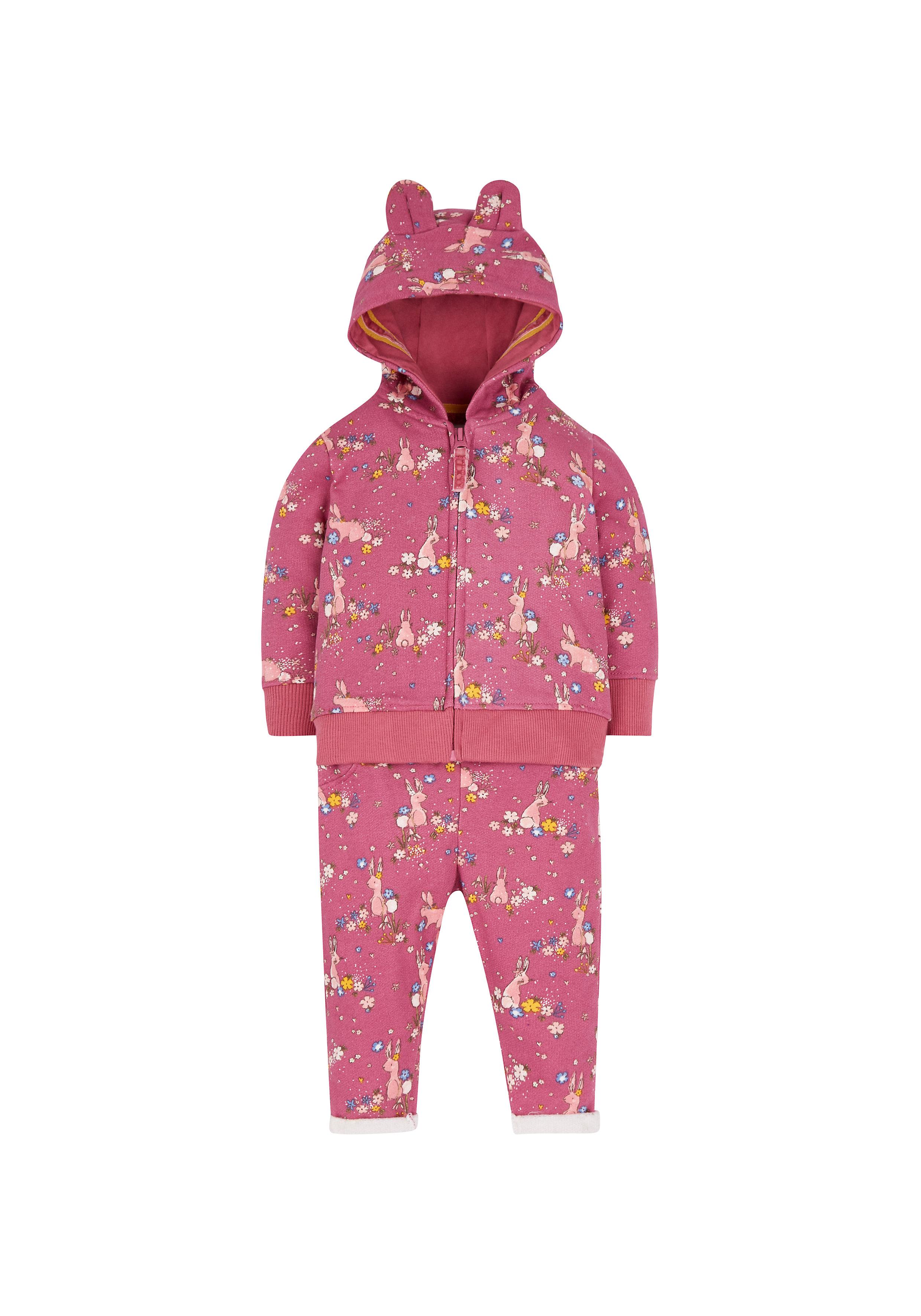 Mothercare | Girls Full Sleeves Hooded Jog Set 3D Details - Pink