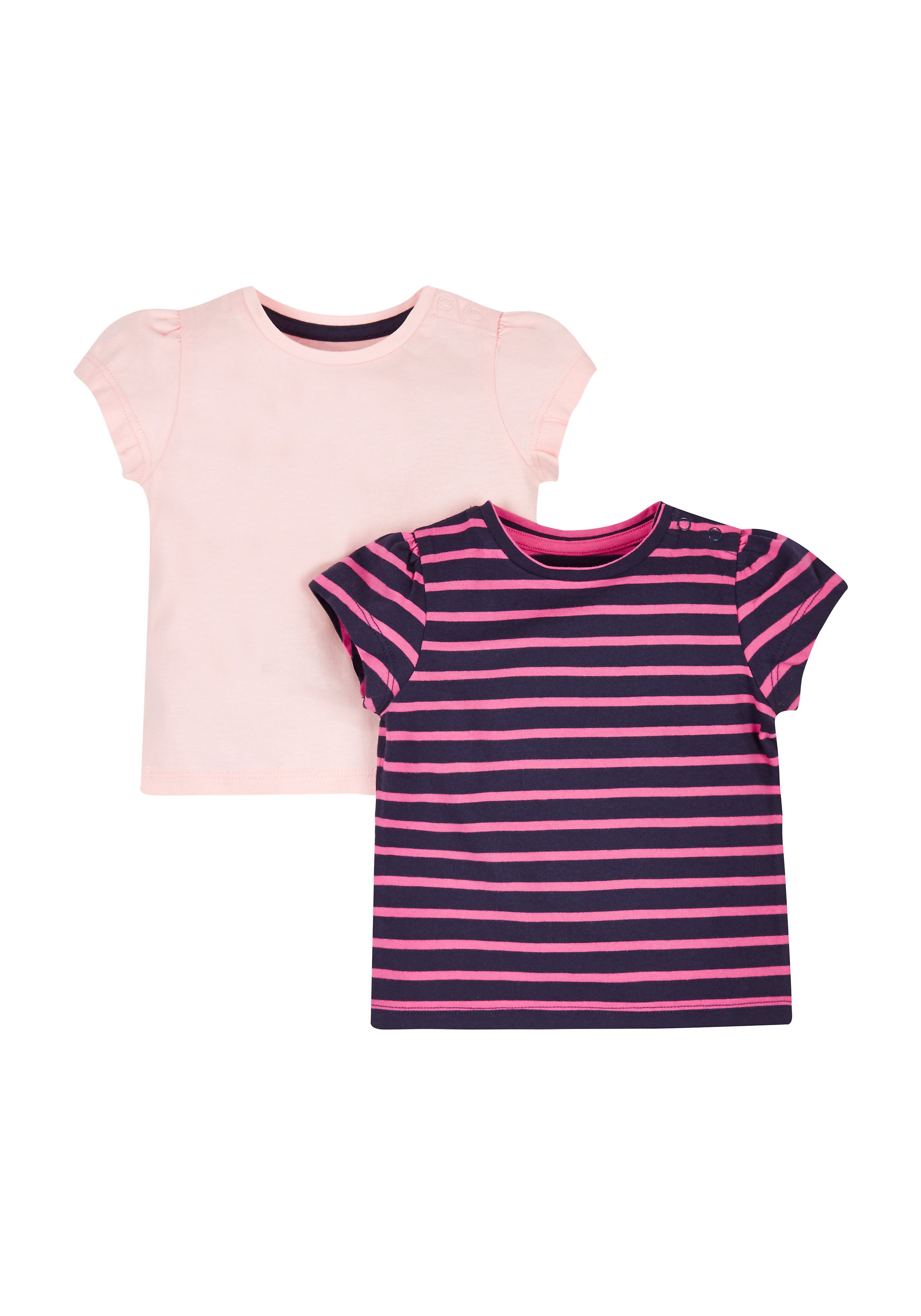 Mothercare   Navy Stripe And Pink T-Shirts - 2 Pack