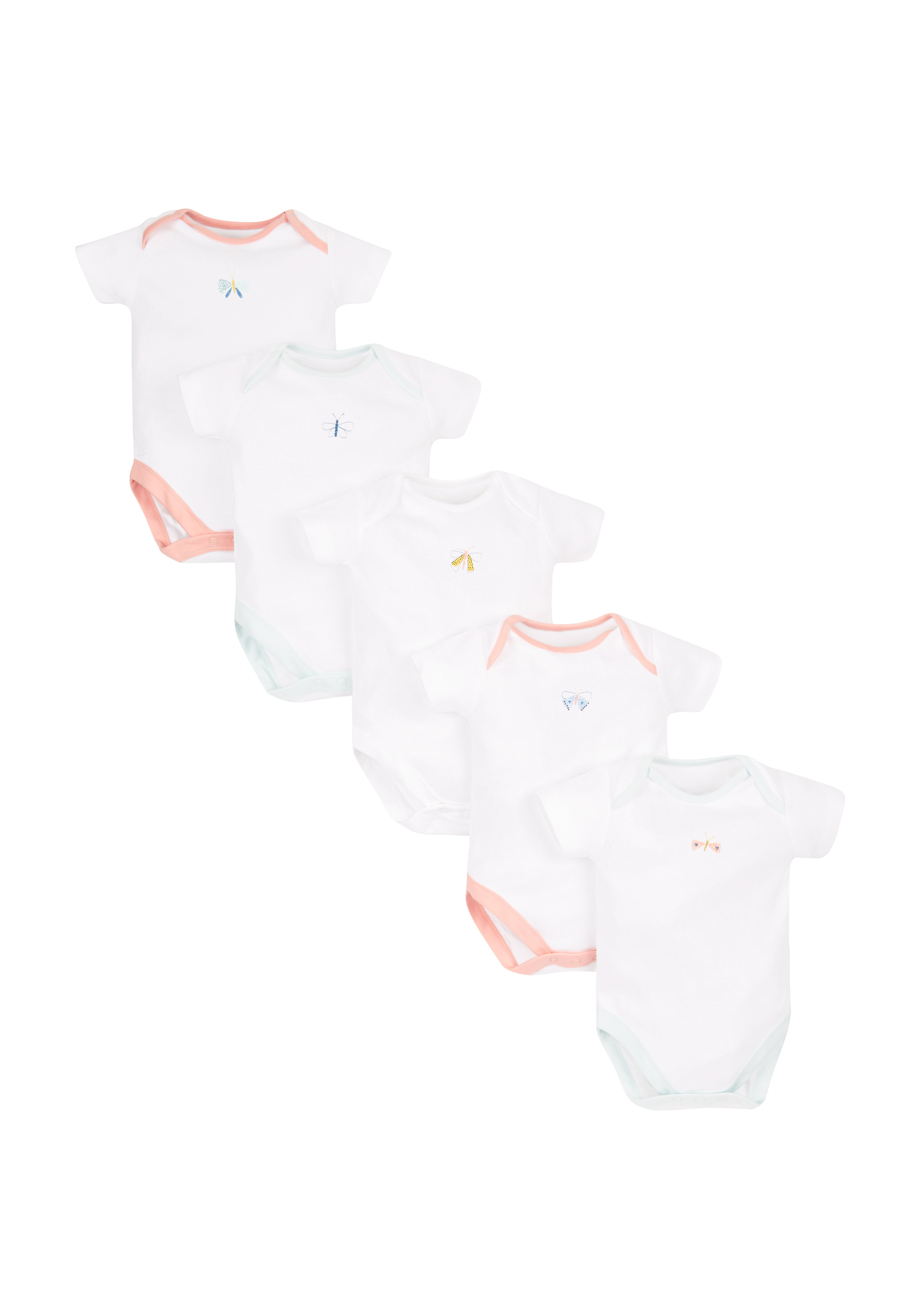 Mothercare   Girls Half Sleeves Bodysuit Butterfly Print - Pack Of 5 - White
