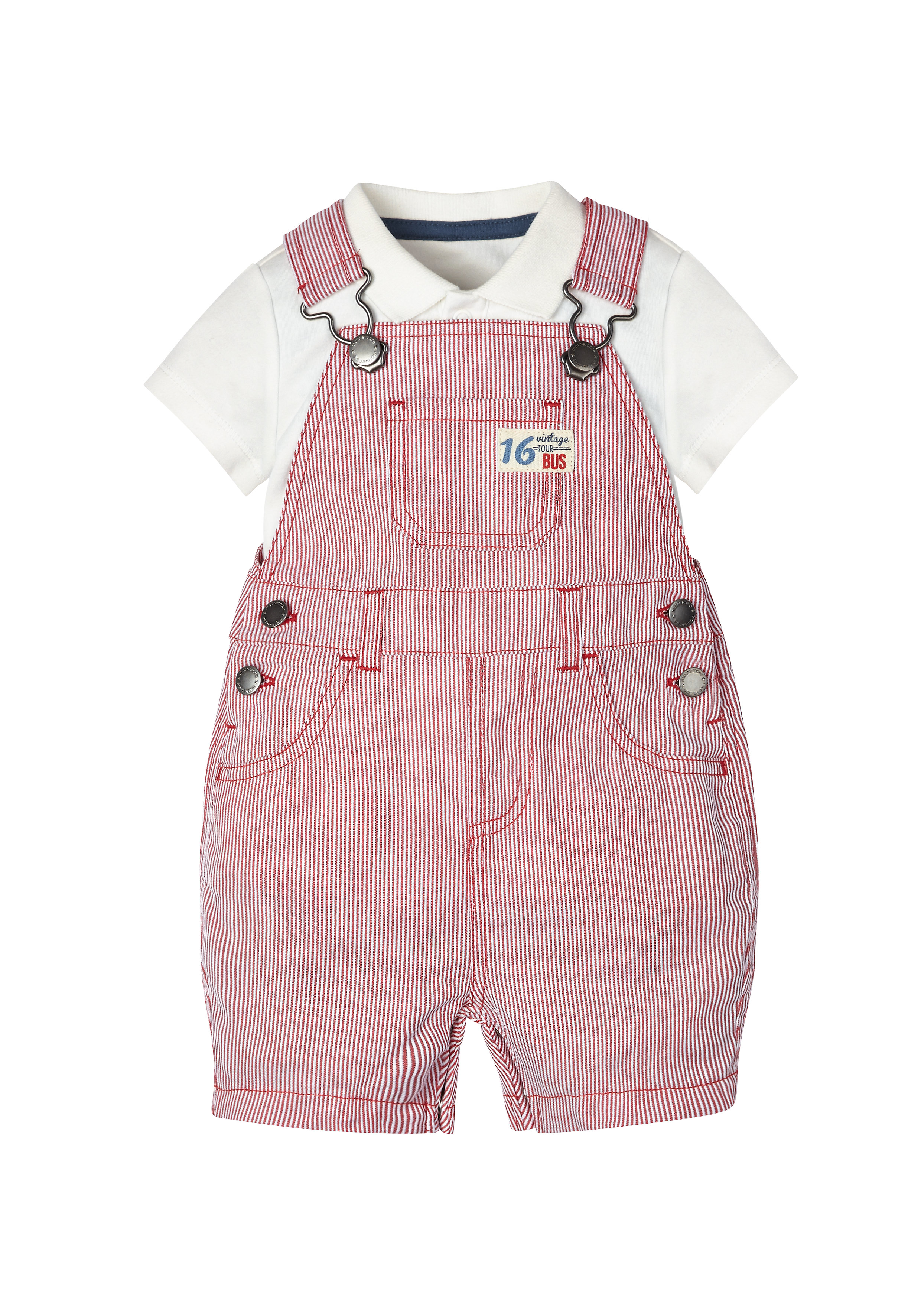 Mothercare | Boys Bibshorts And Polo Bodysuit Set - Multicolor