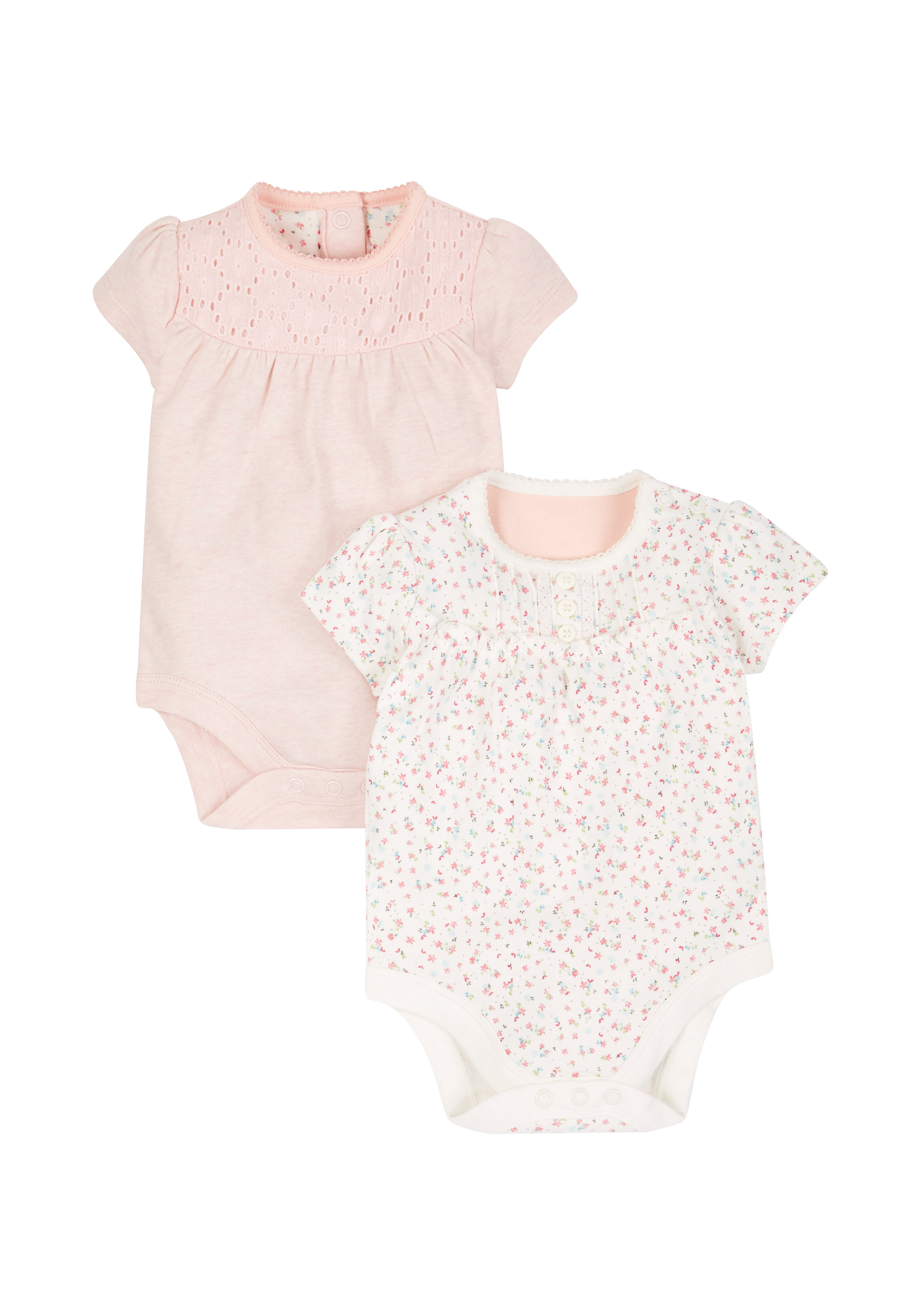 Mothercare | Girls Floral And Pink Broderie Bodysuits - Pack Of 2