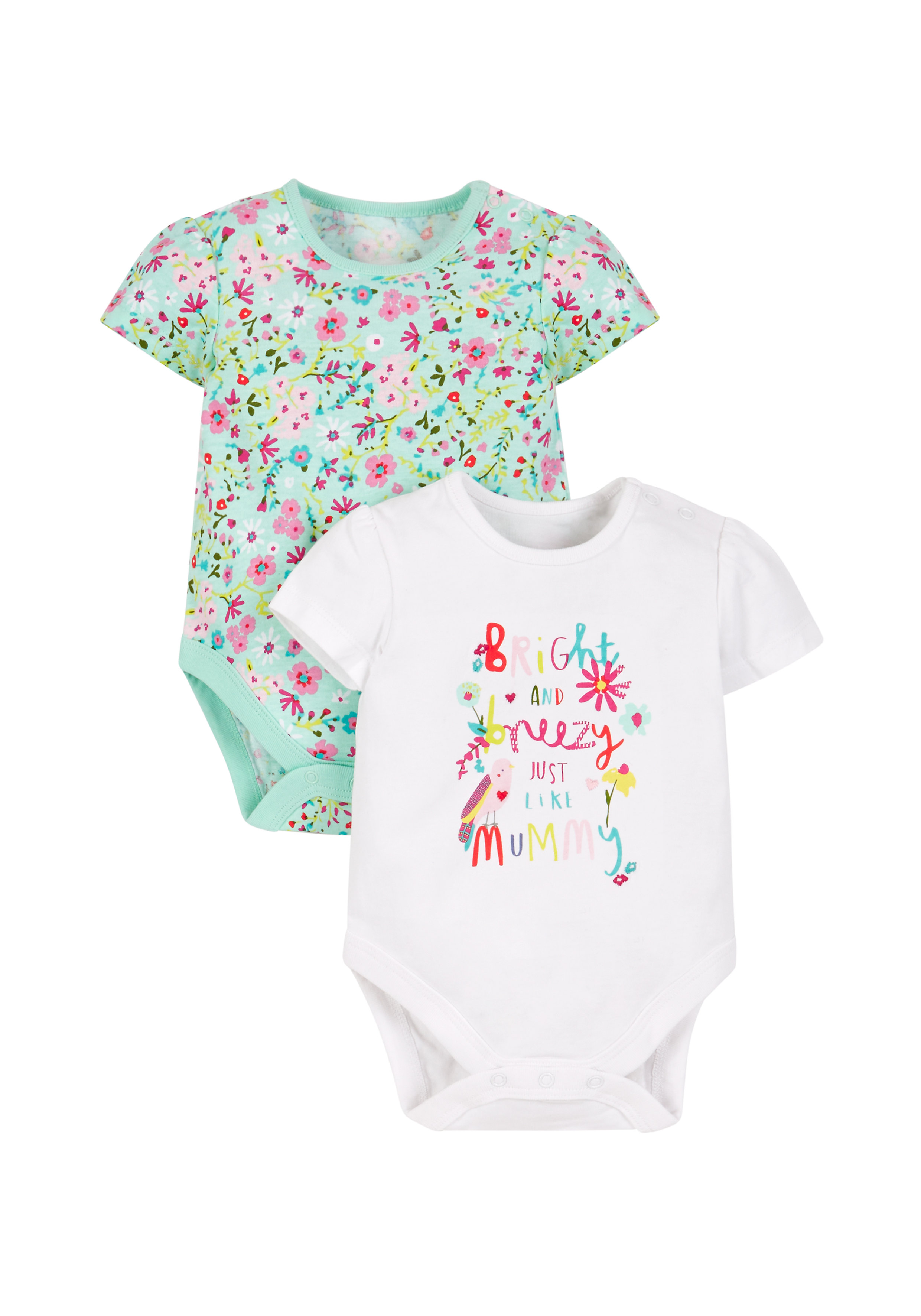 Mothercare | Girls Ditsy Floral Bodysuits - 2 Pack - Multicolor