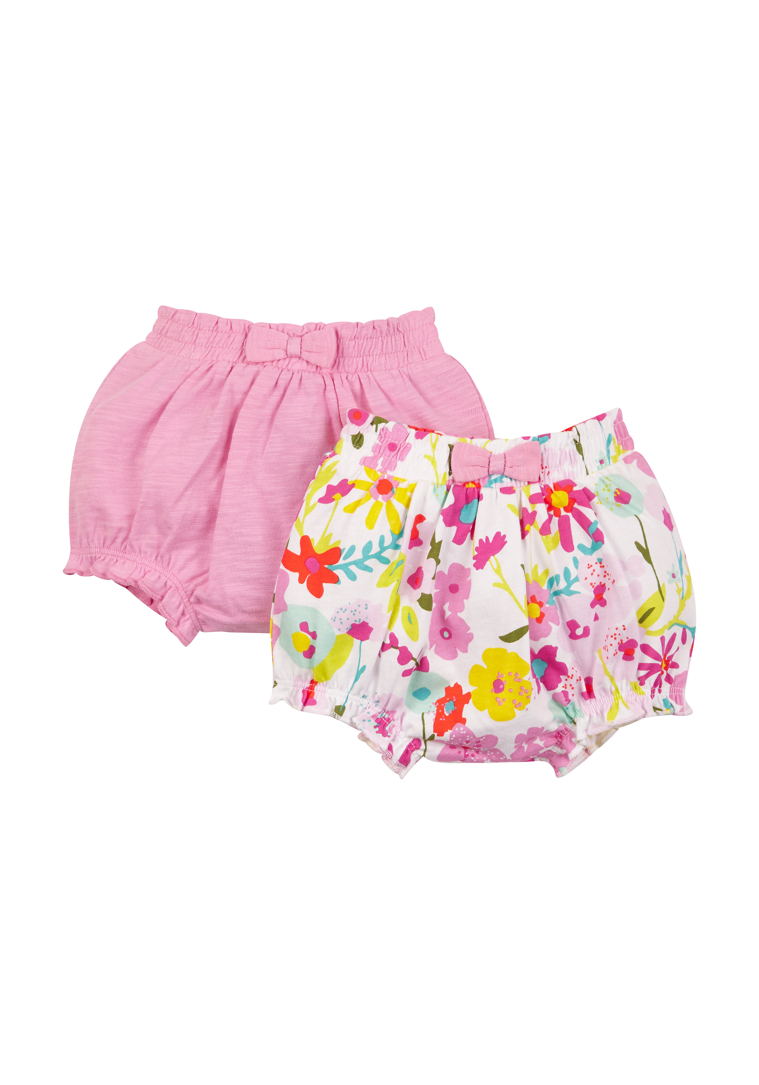 Mothercare | Girls Pink And Floral Bloomer Shorts - 2 Pack - Multicolor