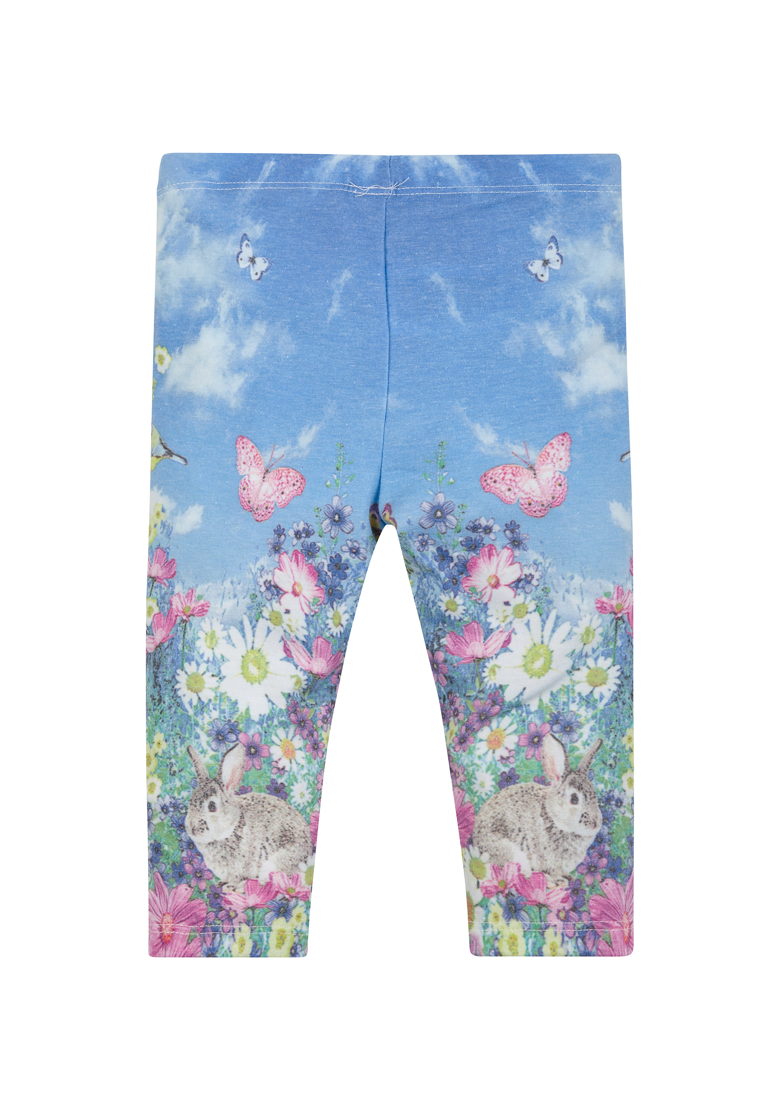 Mothercare | Girls Bunny And Floral Photographic Leggings - Blue
