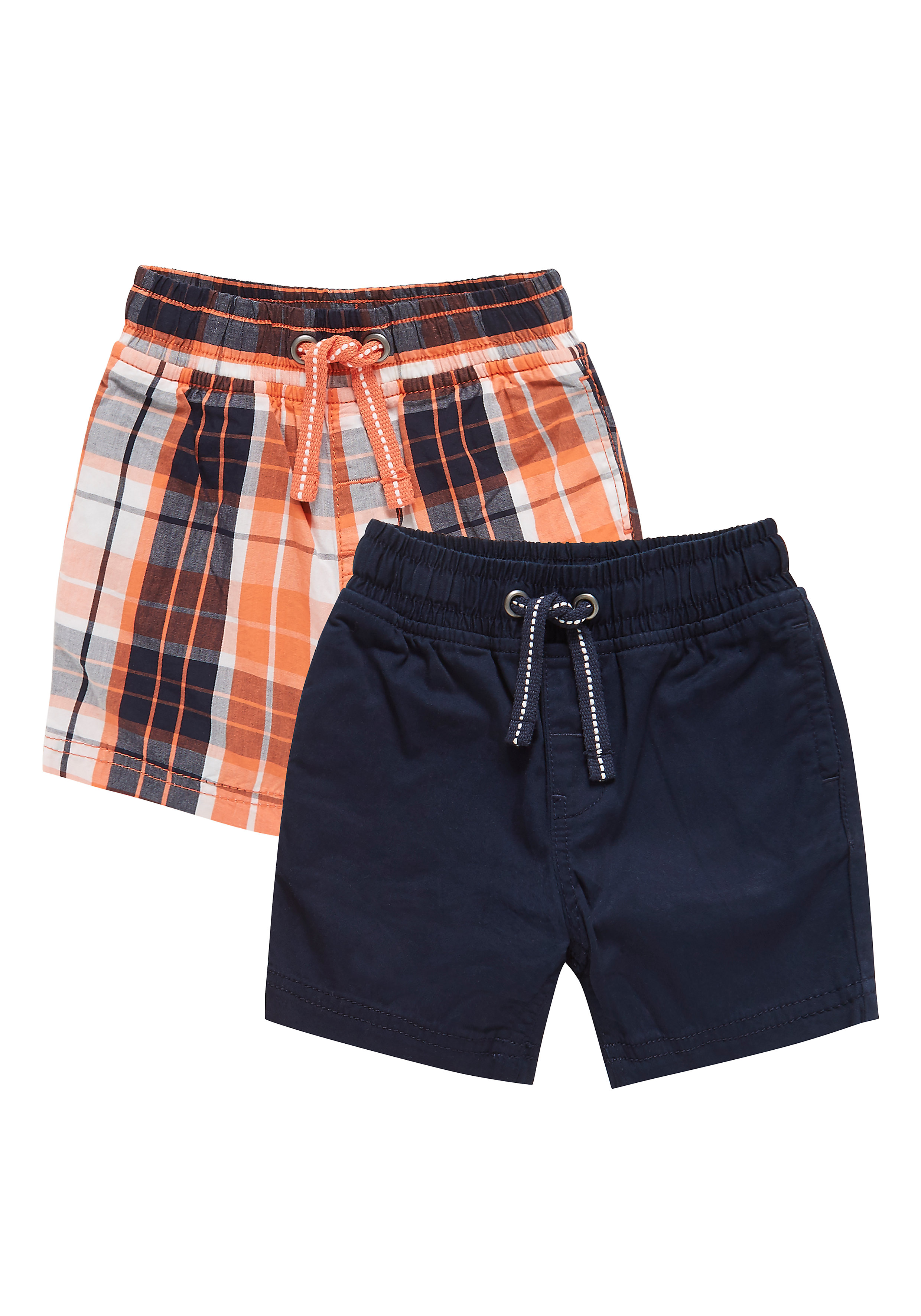 Mothercare   Boys Check And Plain Shorts - 2 Pack - Blue