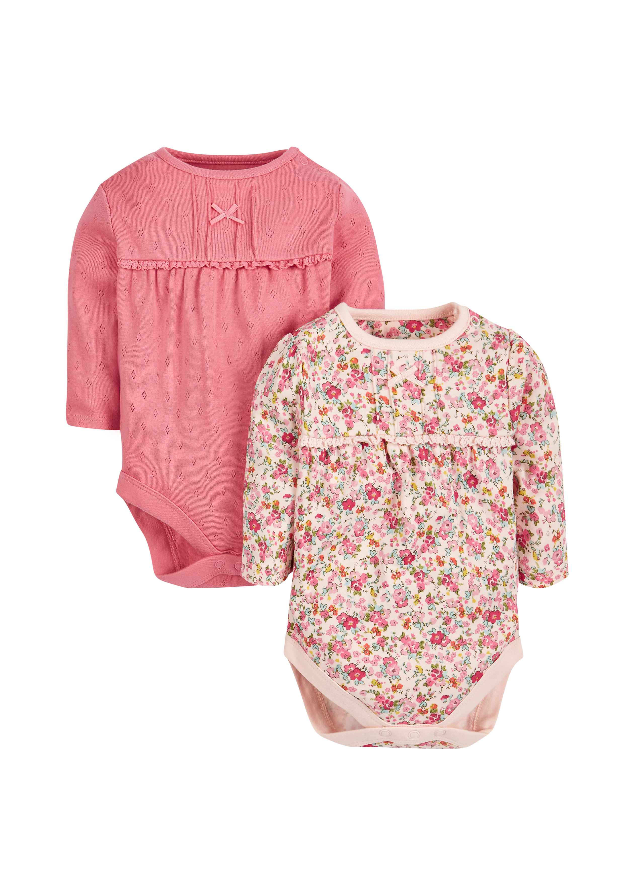 Mothercare   Girls Floral And Pointelle Bodysuits - Pack Of 2 - Pink