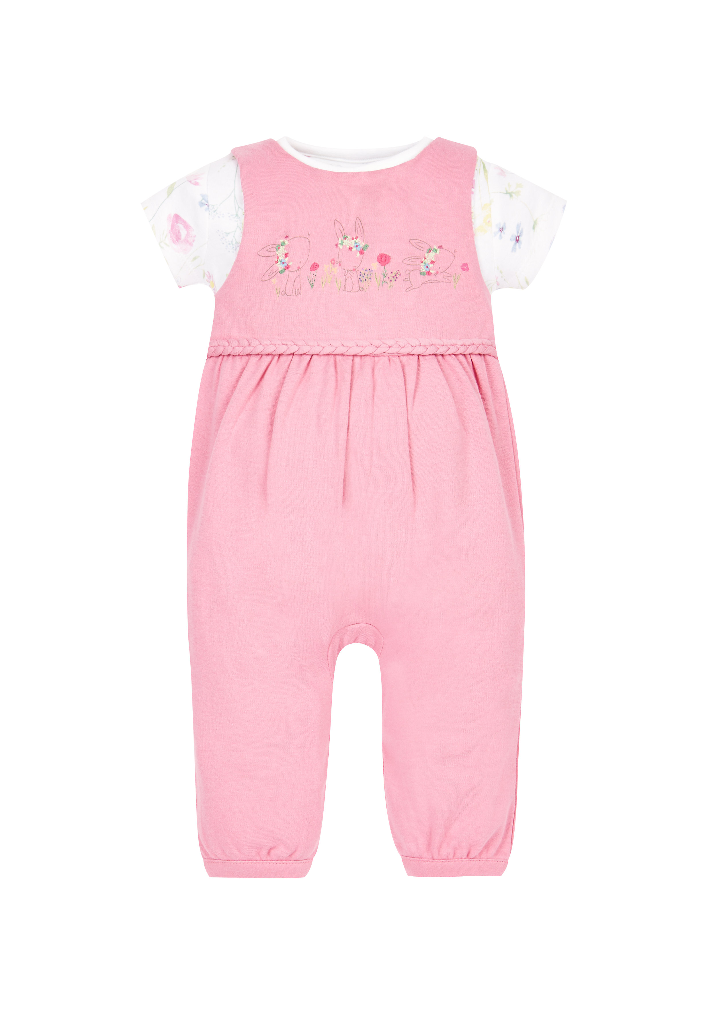 Mothercare | Girls Floral Bodysuit And Dungaree Set - Grey
