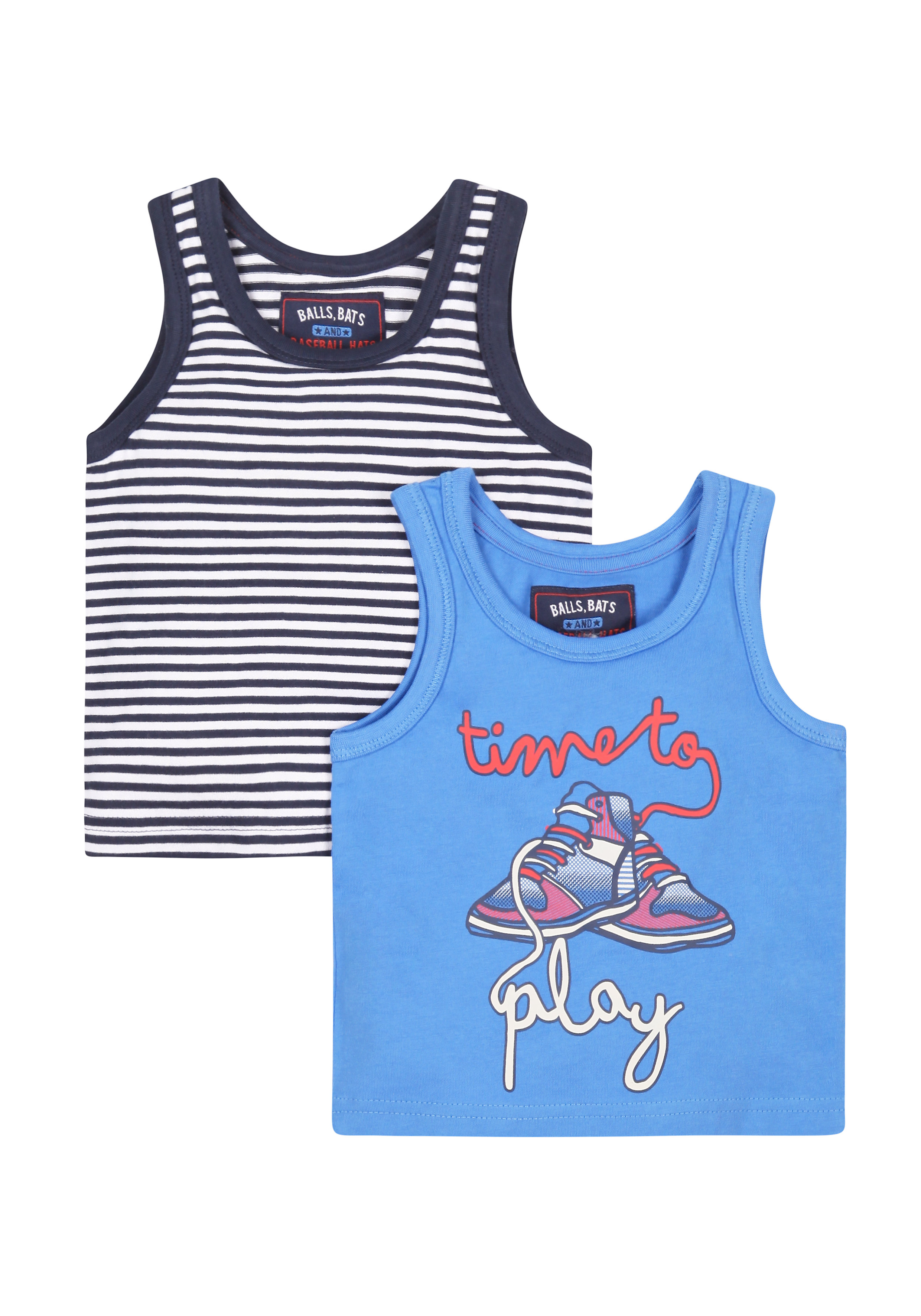 Mothercare | Boys Time To Play Vest T-Shirts - 2 Pack - Multicolor