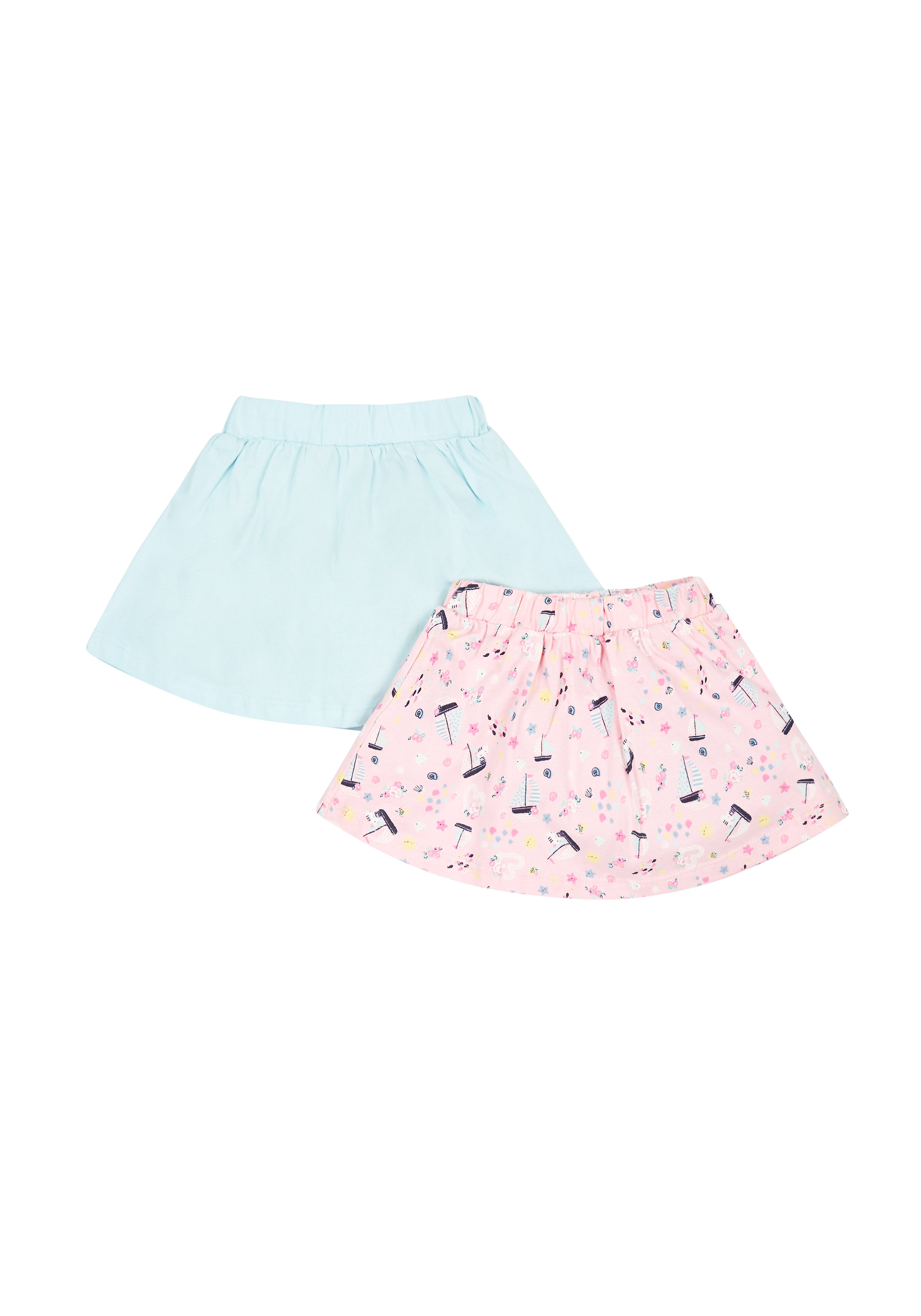 Mothercare   Girls Boat Print And Mint Skirts - 2 Pack - Pink
