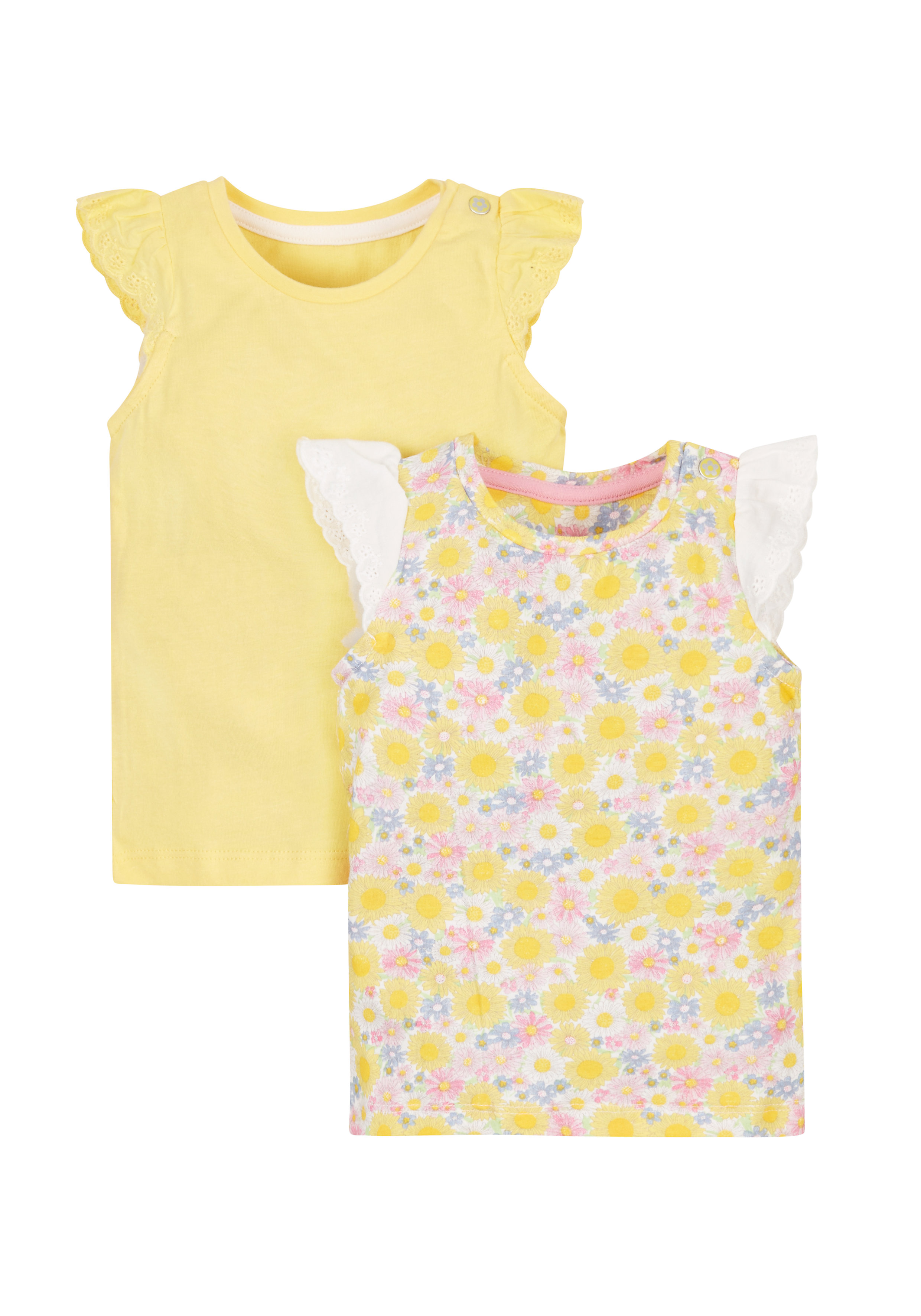 Mothercare   Girls Floral Vests - Pack Of 2 - Yellow