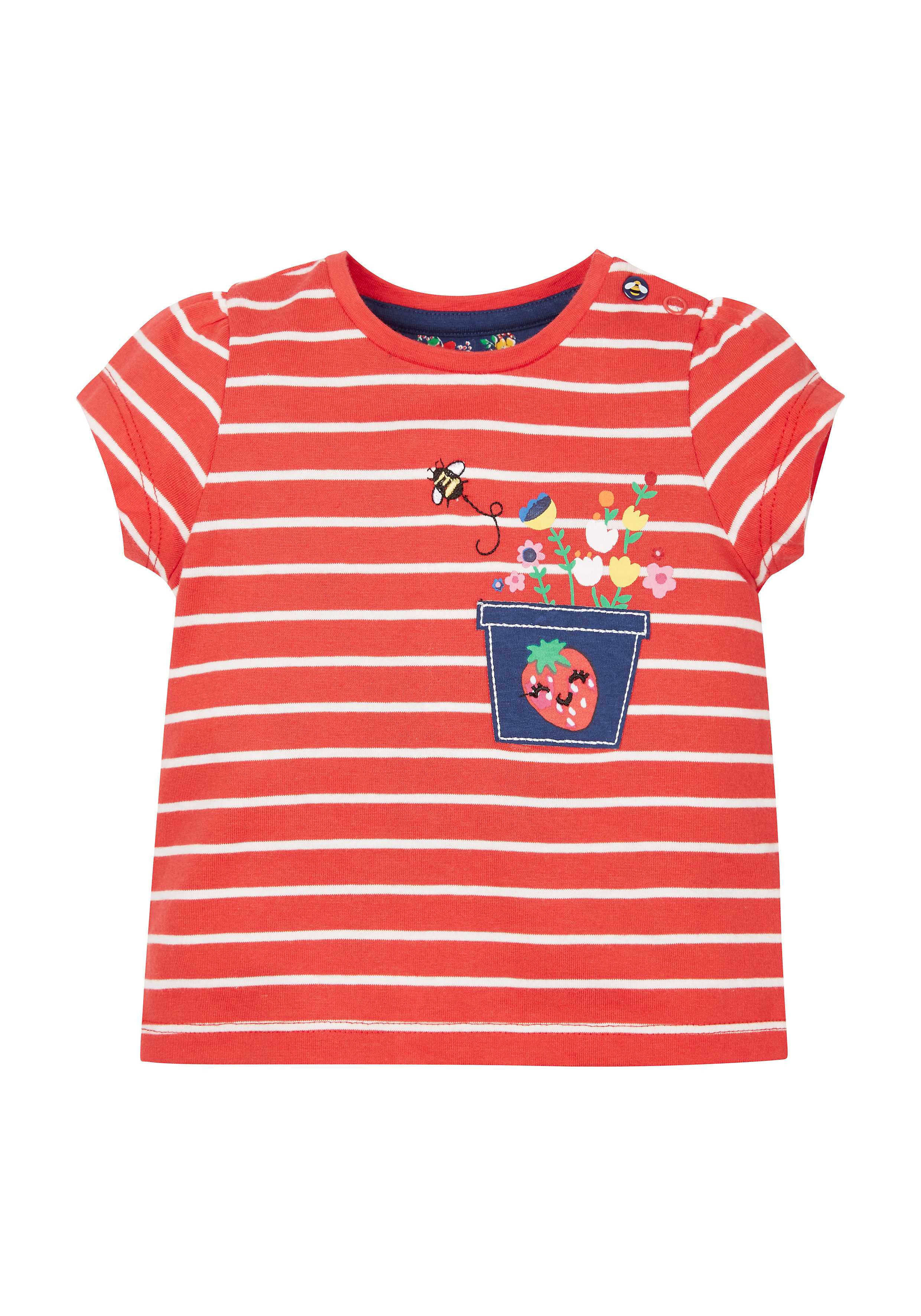 Mothercare   Girls Striped  Plant Pot T-Shirt - Red