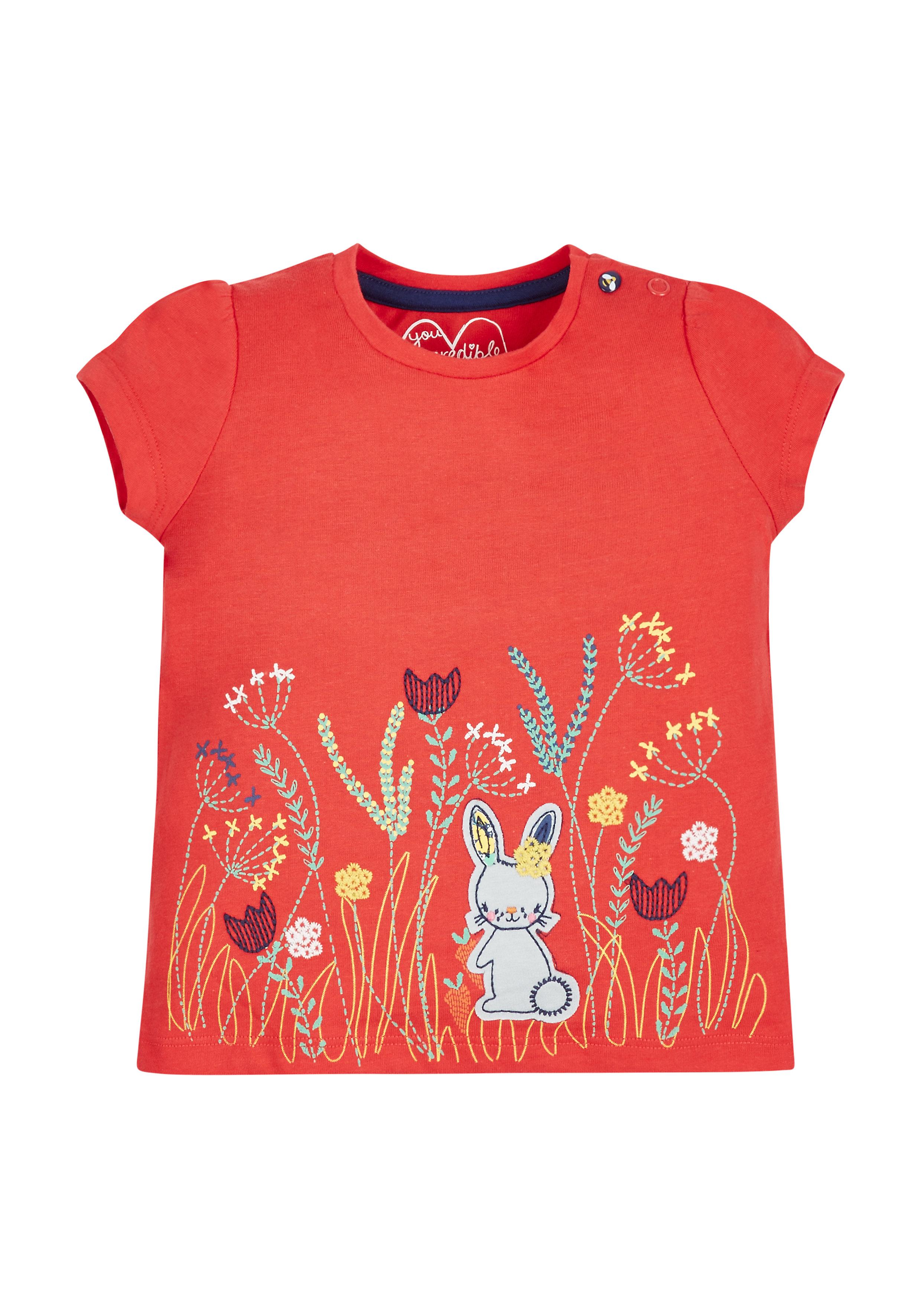 Mothercare | Girls Floral Border T-Shirt