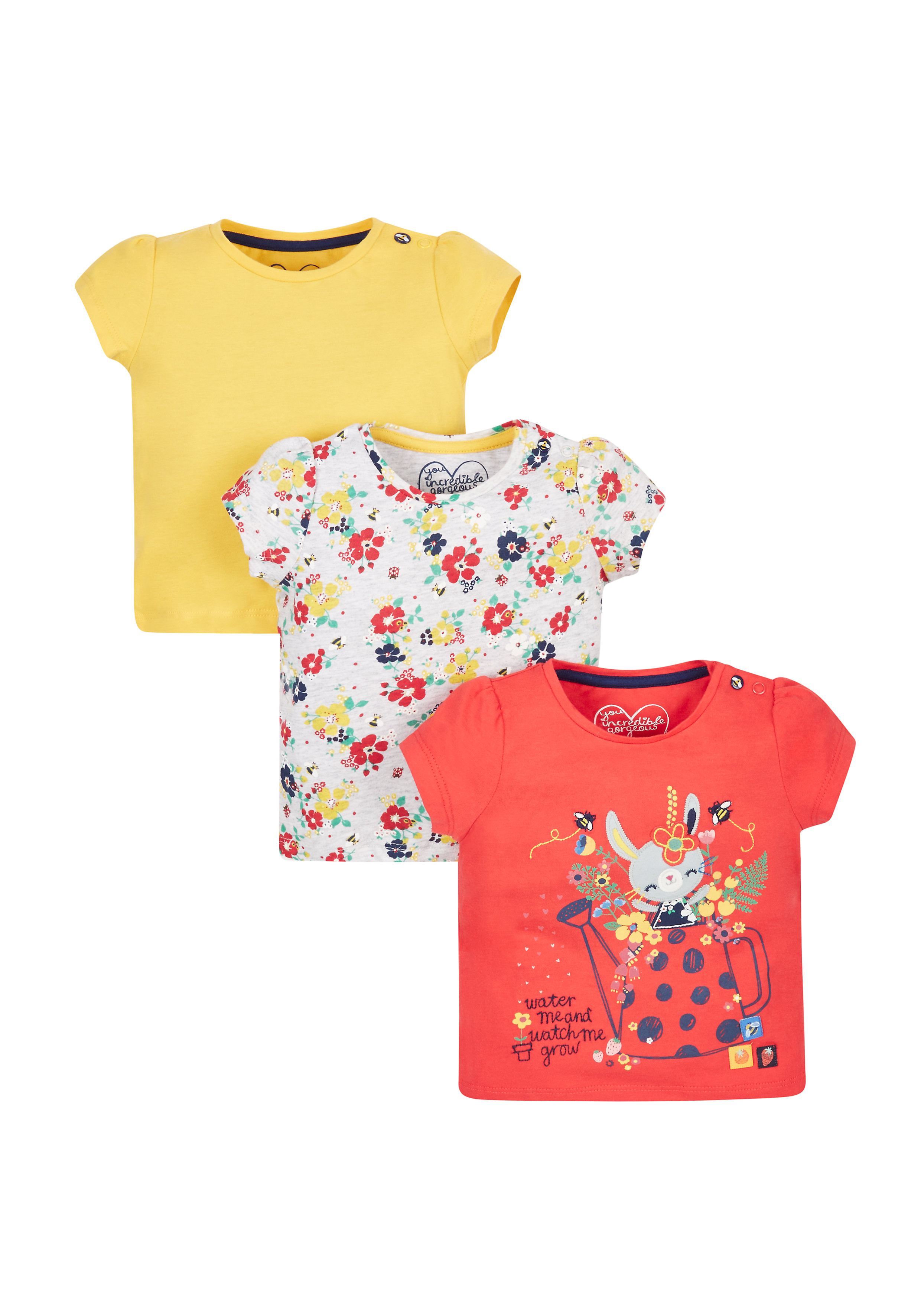 Mothercare | Girls Farm Print T-Shirts - Pack Of 3