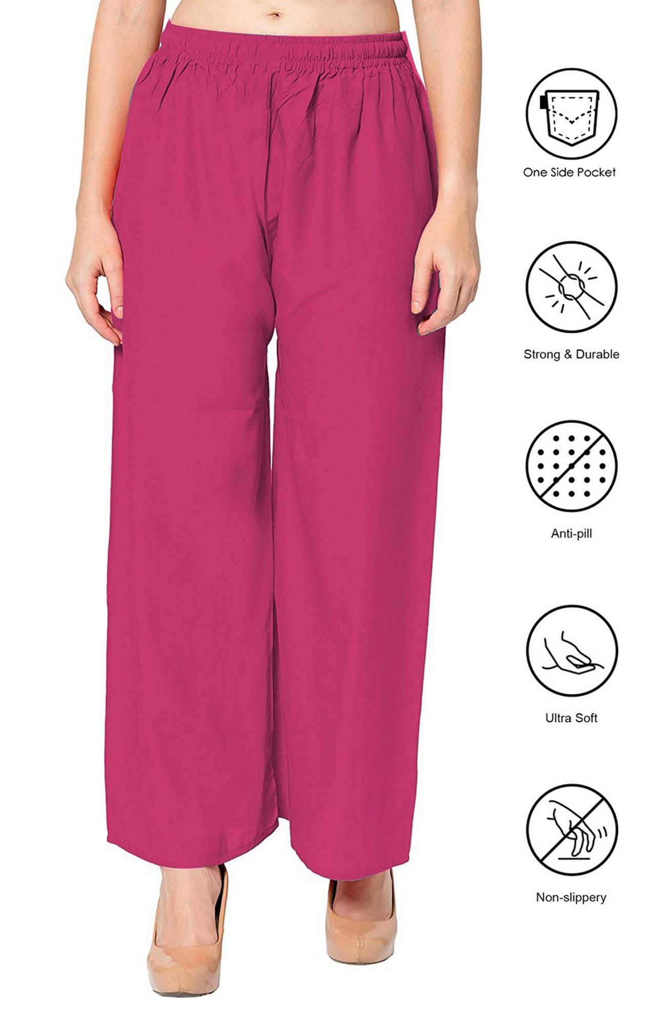 SATIMA | Women's Pink Colored Solid Printed Rayon Palazzo