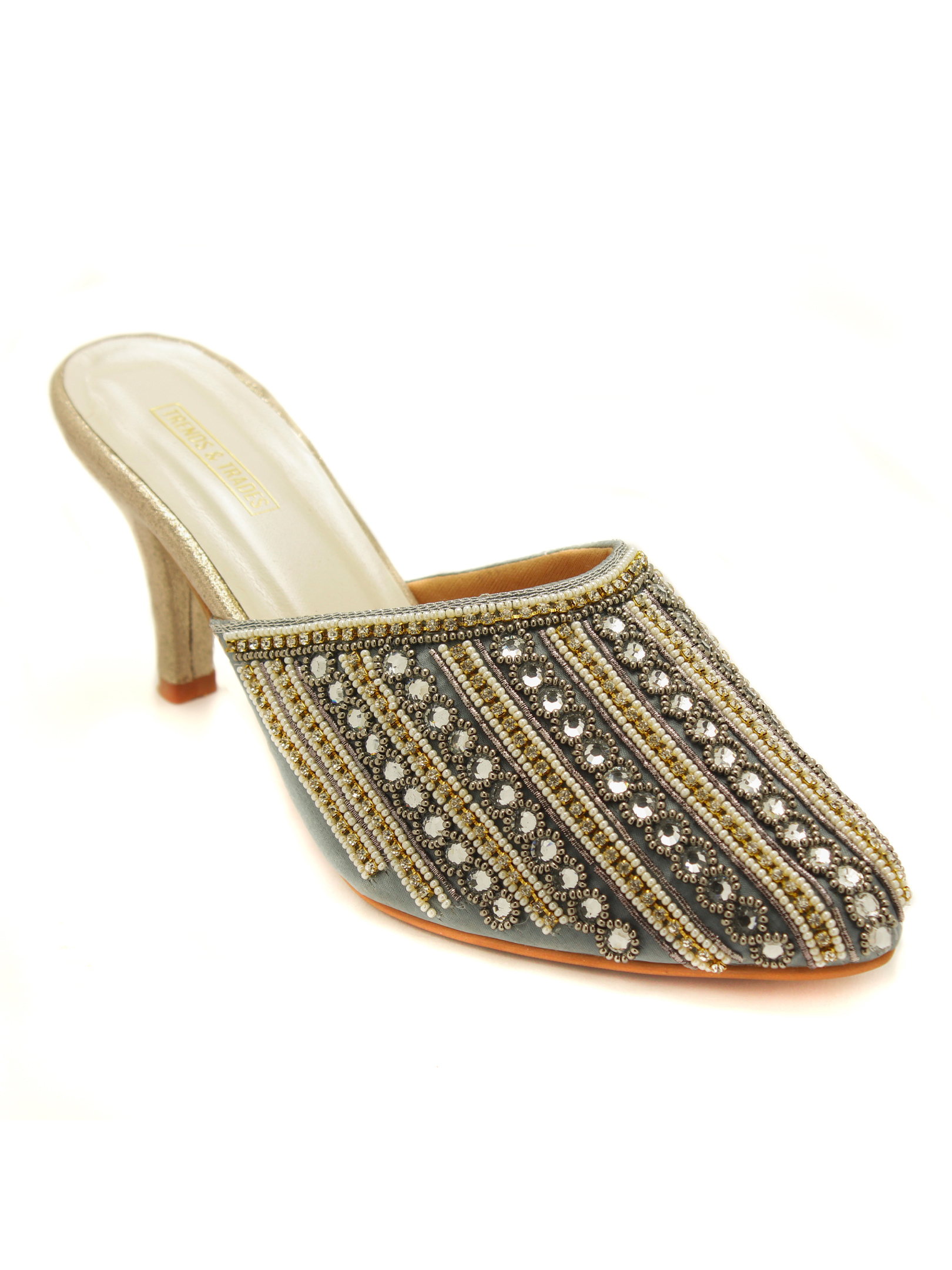 Trends & Trades | Women Grey Handcrafted Embellished Heeled Mules