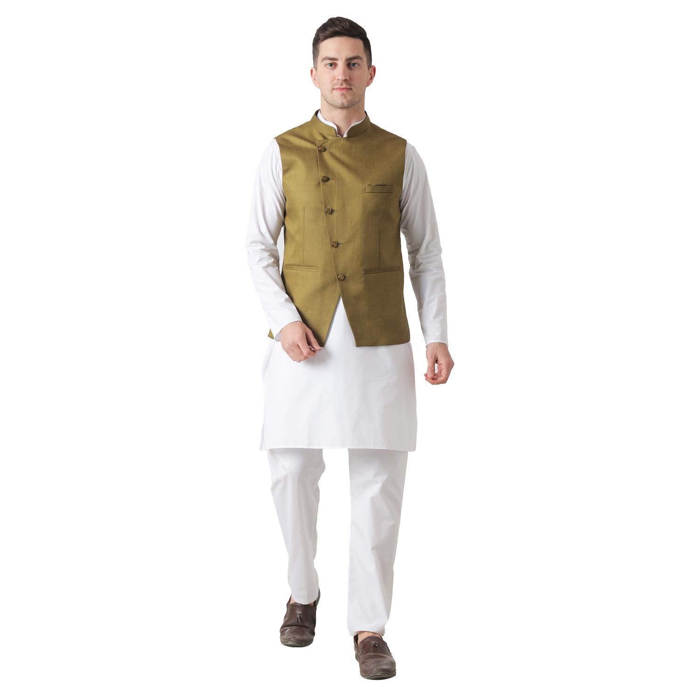 TAHVO   Tahvo Mens Nehru Jacket with Kurta Payjama 3 Piece Set Mens Kurta Pyjama