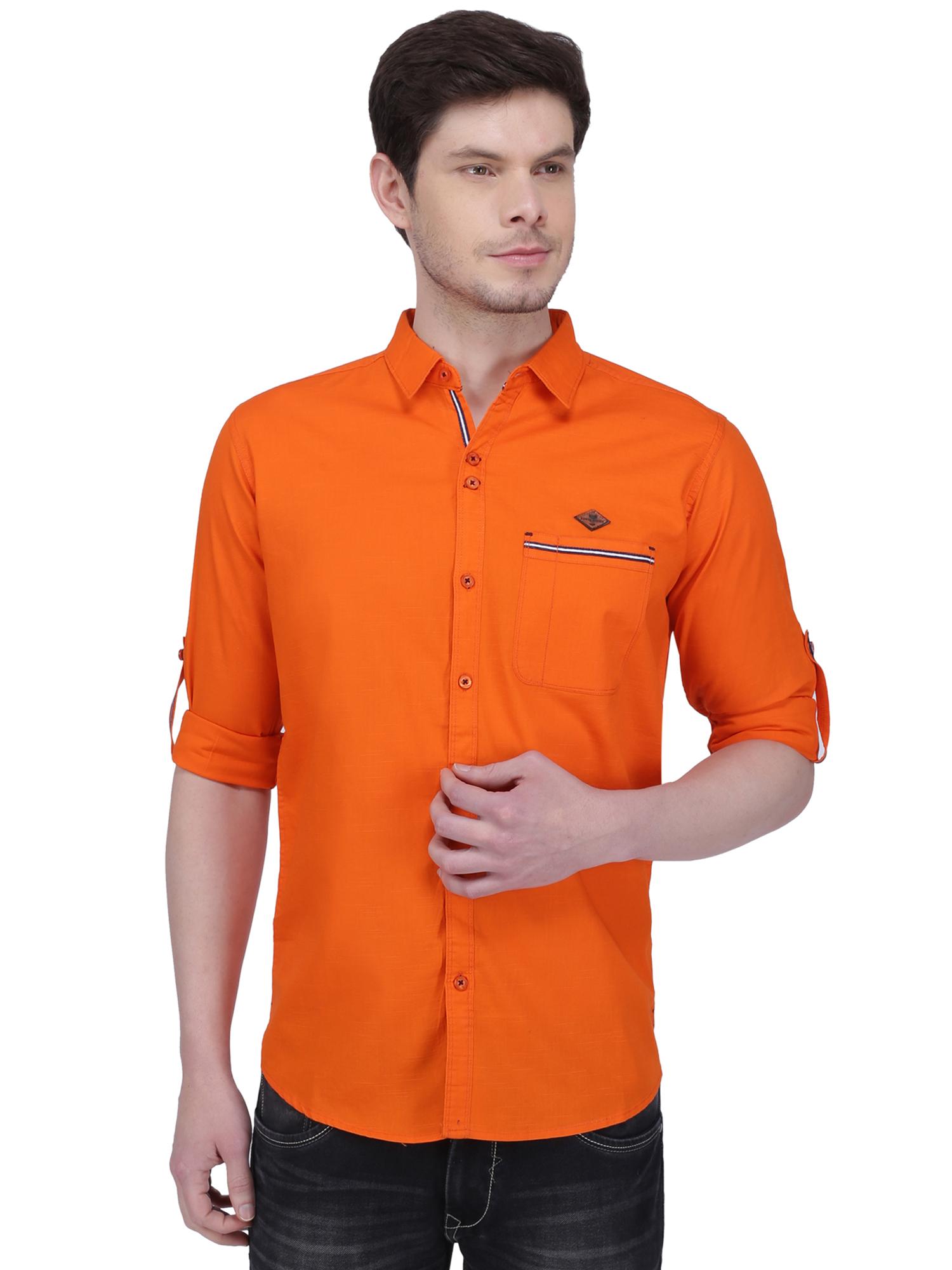 Kuons Avenue   Kuons Avenue Men's Flamboyant Orange Linen Cotton Shirt- KACLFS1308FO