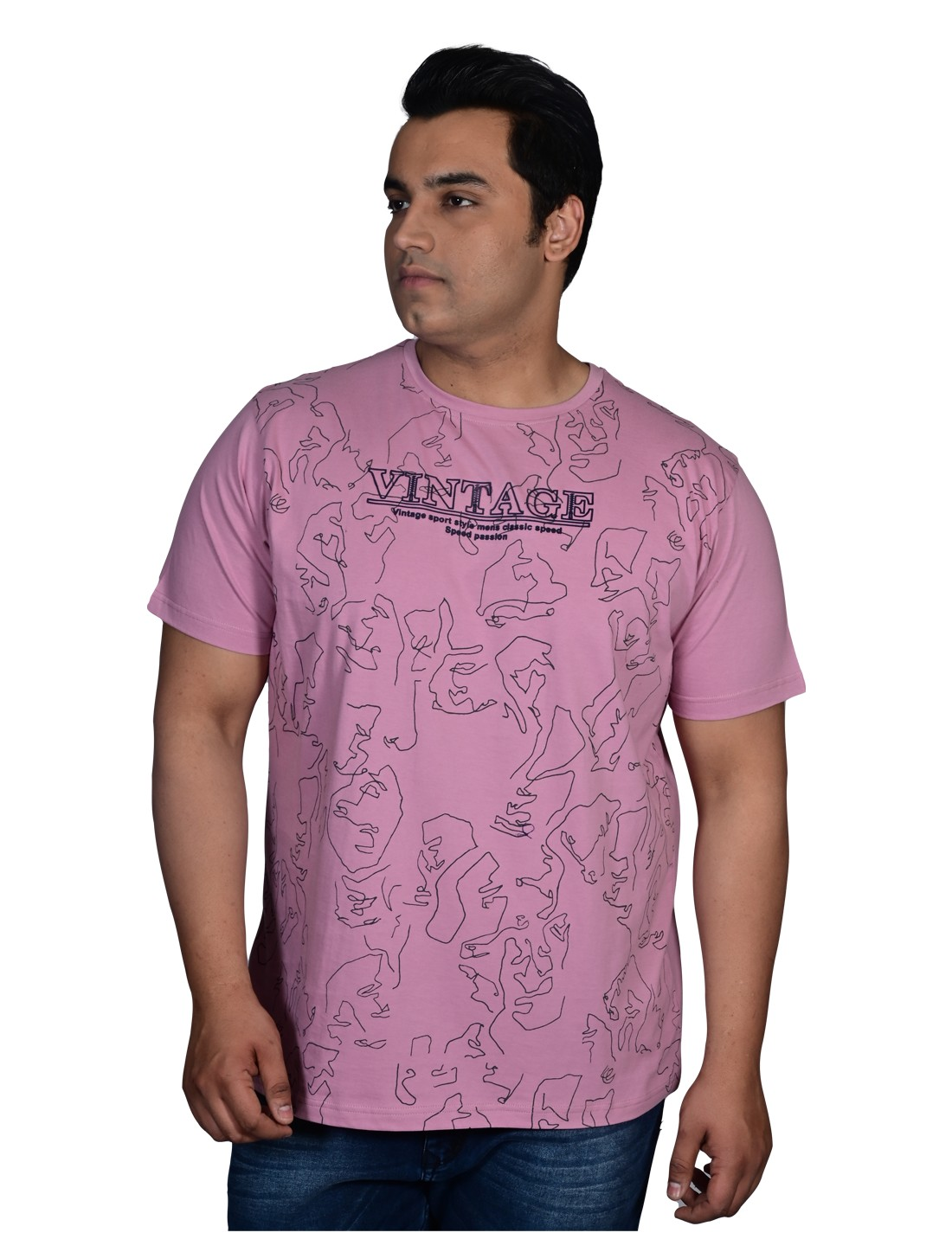 XMEX   XMEX Men's Plus Size Rose Pink Cotton Casual Abstract Print Half Sleeve Round Neck T-Shirt