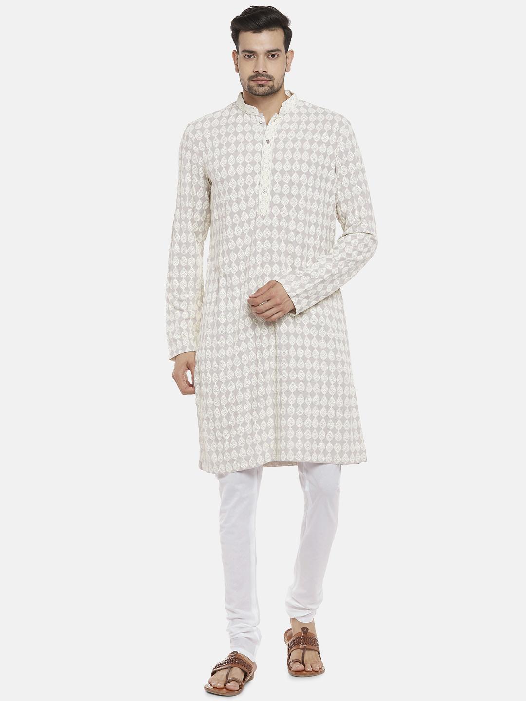 Ethnicity | Viscose Rayon Full Sleeve Straight Men Light Grey Kp Set