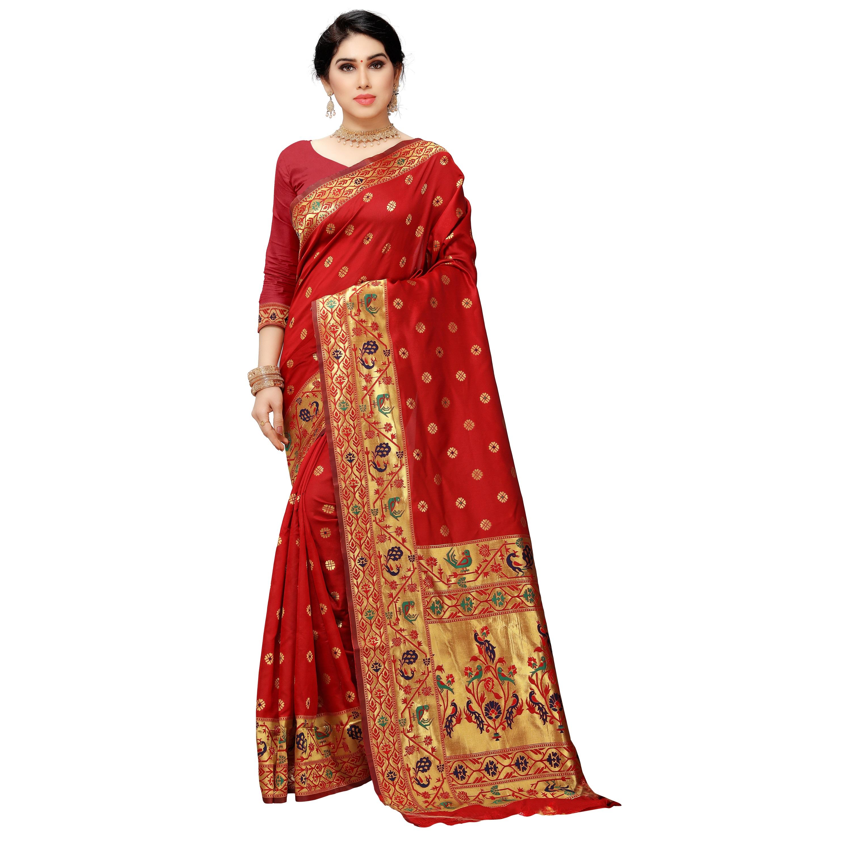 POONAM TEXTILE   Designer Banarasi Jacquard Silk Woven Red Saree