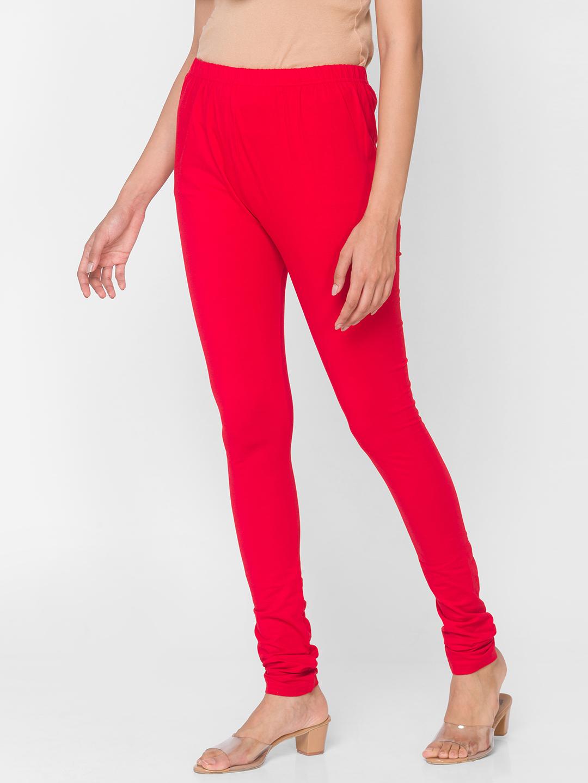 Ethnicity | Bright Red Women Fashion Cotton Lycra Churidar