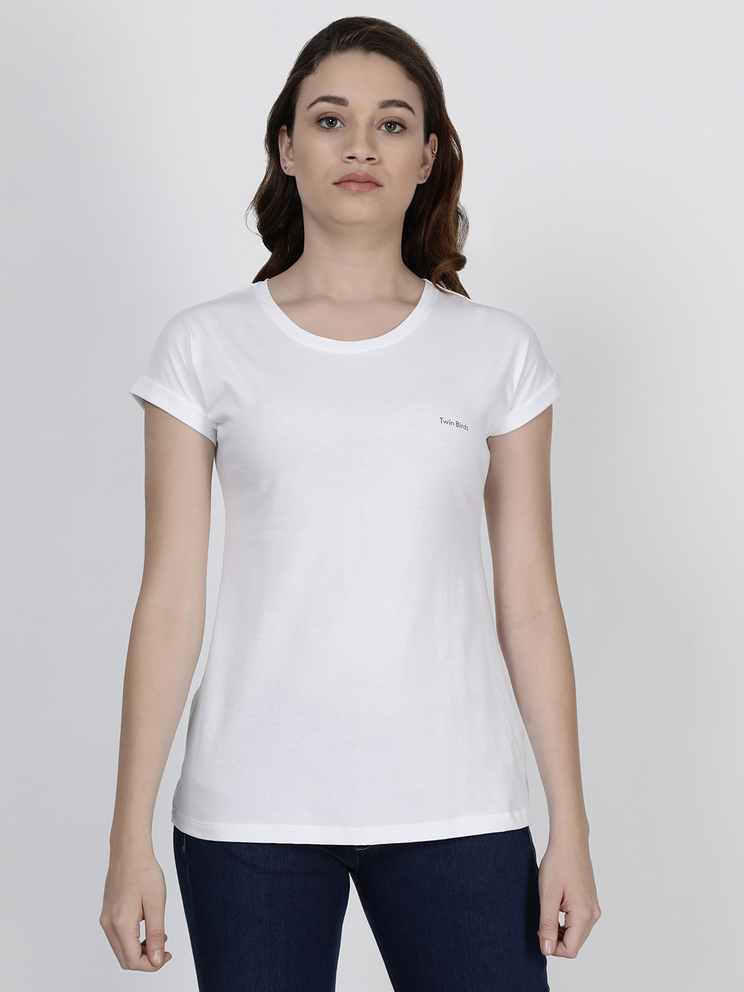 Twin Birds   Twinbirds Pearl White Women Relaxed Fit Branded Tee