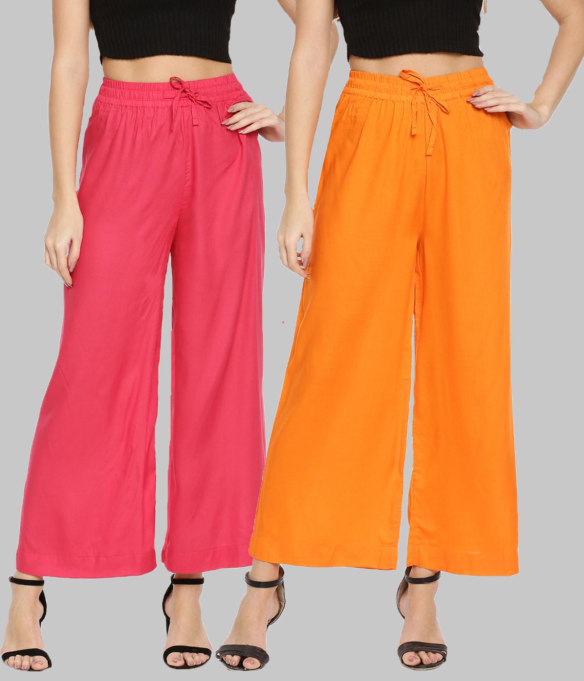 Twin Birds | Twinbirds Women  Bubble Gum/Flery Orange Wide leg Palazzo Pack of 2